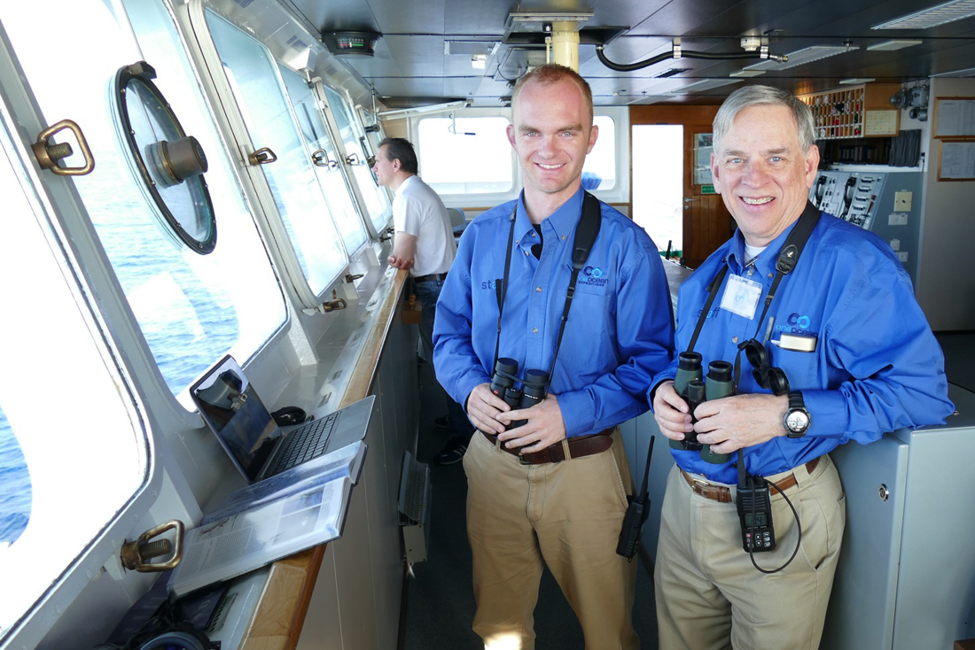 Noah with Steve Bailey aboard the Akademik Ioffe. Noah Strycker