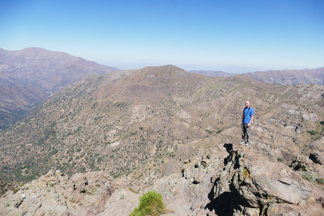 Noah, at about 10,000 feet in the Andes east of Santiago. Noah Strycker