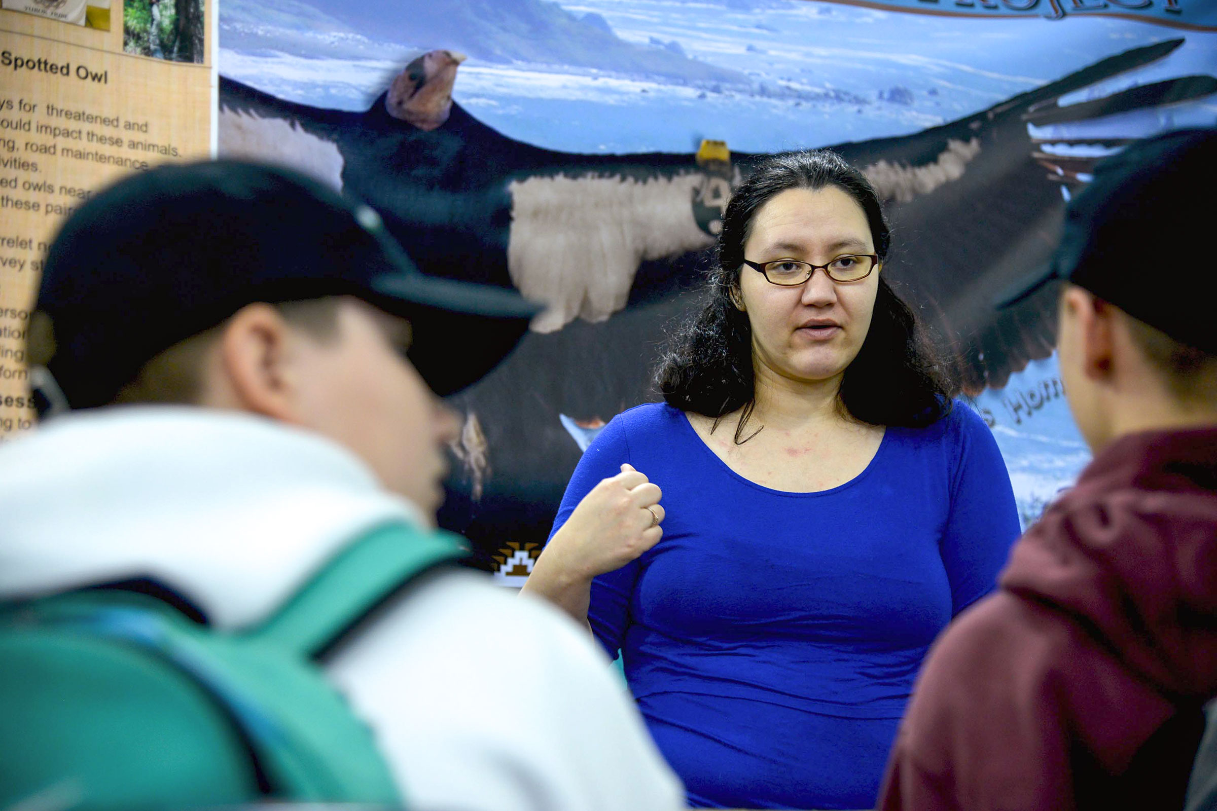 Tiana Williams, the Director of the Yurok Wildlife Department, informs local students about how to become wildlife biologists at a career and college readiness fair put by the Tribe. Matt Mais/Yurok Tribe