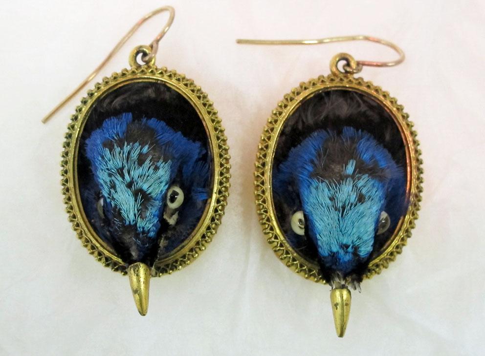 Red-legged Honeycreeper earrings. Courtesy of the Metropolitan Museum of Art