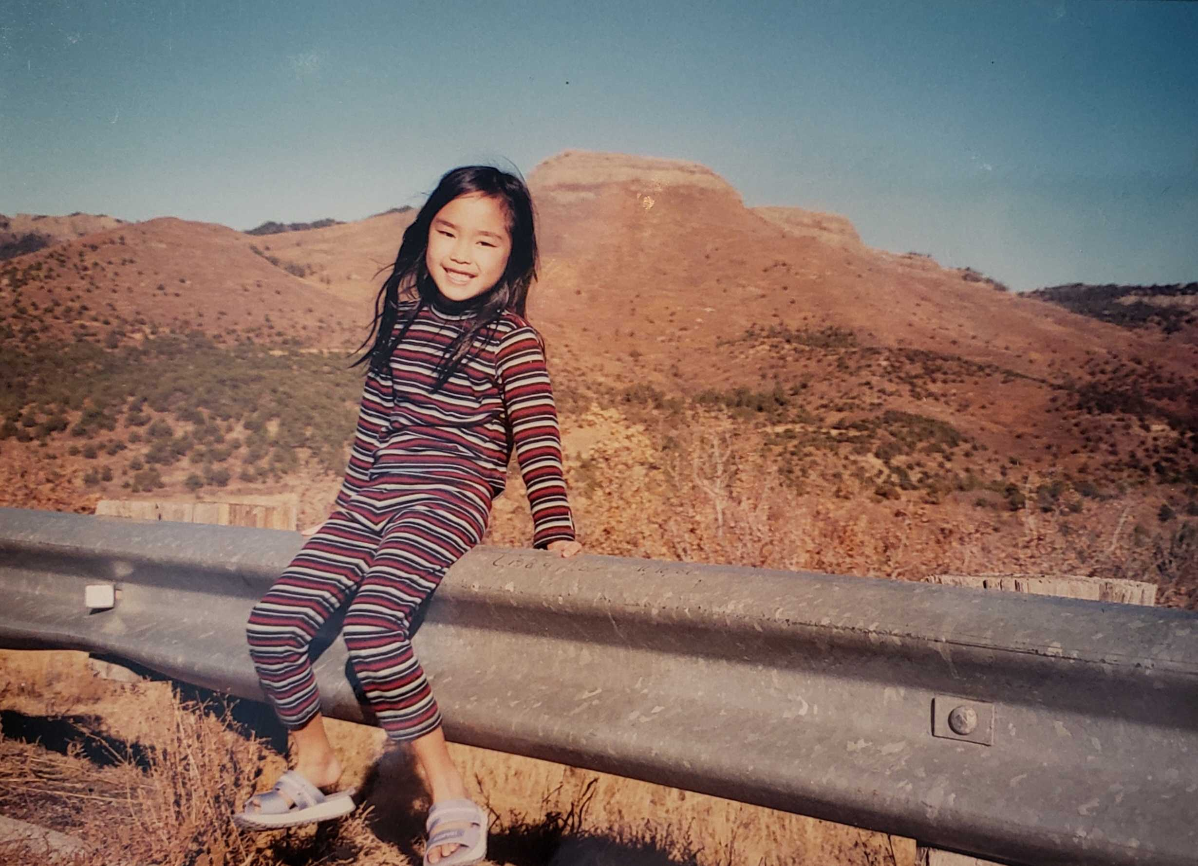Lin, at a young age, on a road trip with her parents. Courtesy of Christine Lin
