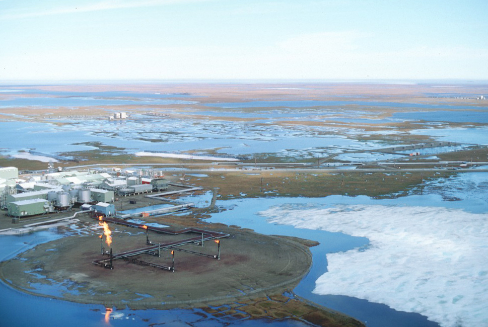 The sprawling infrastructure at Prudhoe Bay oil field stretches across 340 square miles of fragile tundra, interfering with wildlife. Photo: A. Miller/NWFblogs/Flickr