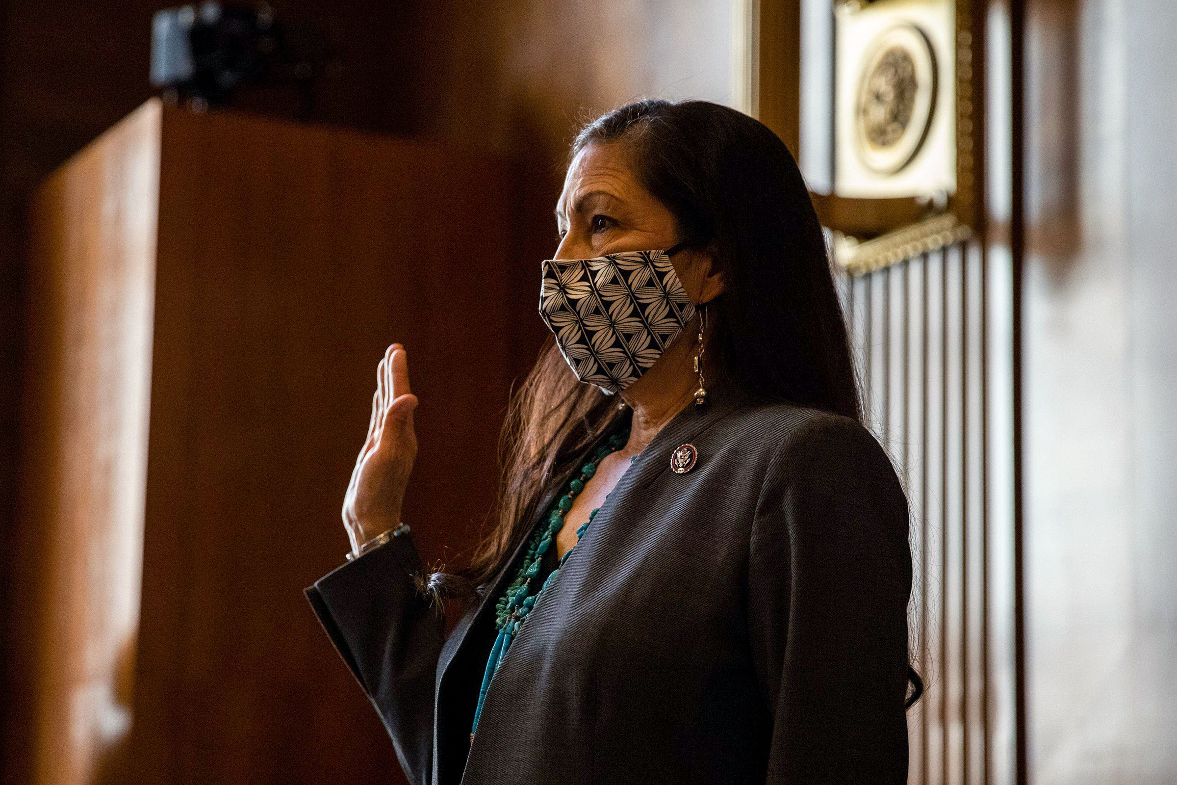 Congresswoman Deb Haaland is sworn in during a Senate Committee on Energy and Natural Resources hearing on her nomination to be Interior Secretary in Washington, February 23, 2021. Graeme Jennings/Pool/Alamy