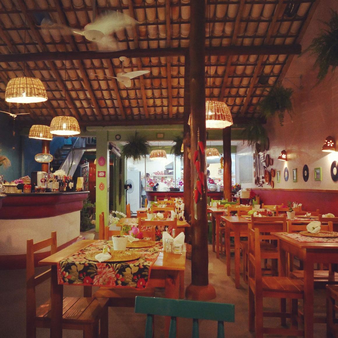 Leo's fancier restaurant in downtown Itacare, Brazil. Noah Strycker