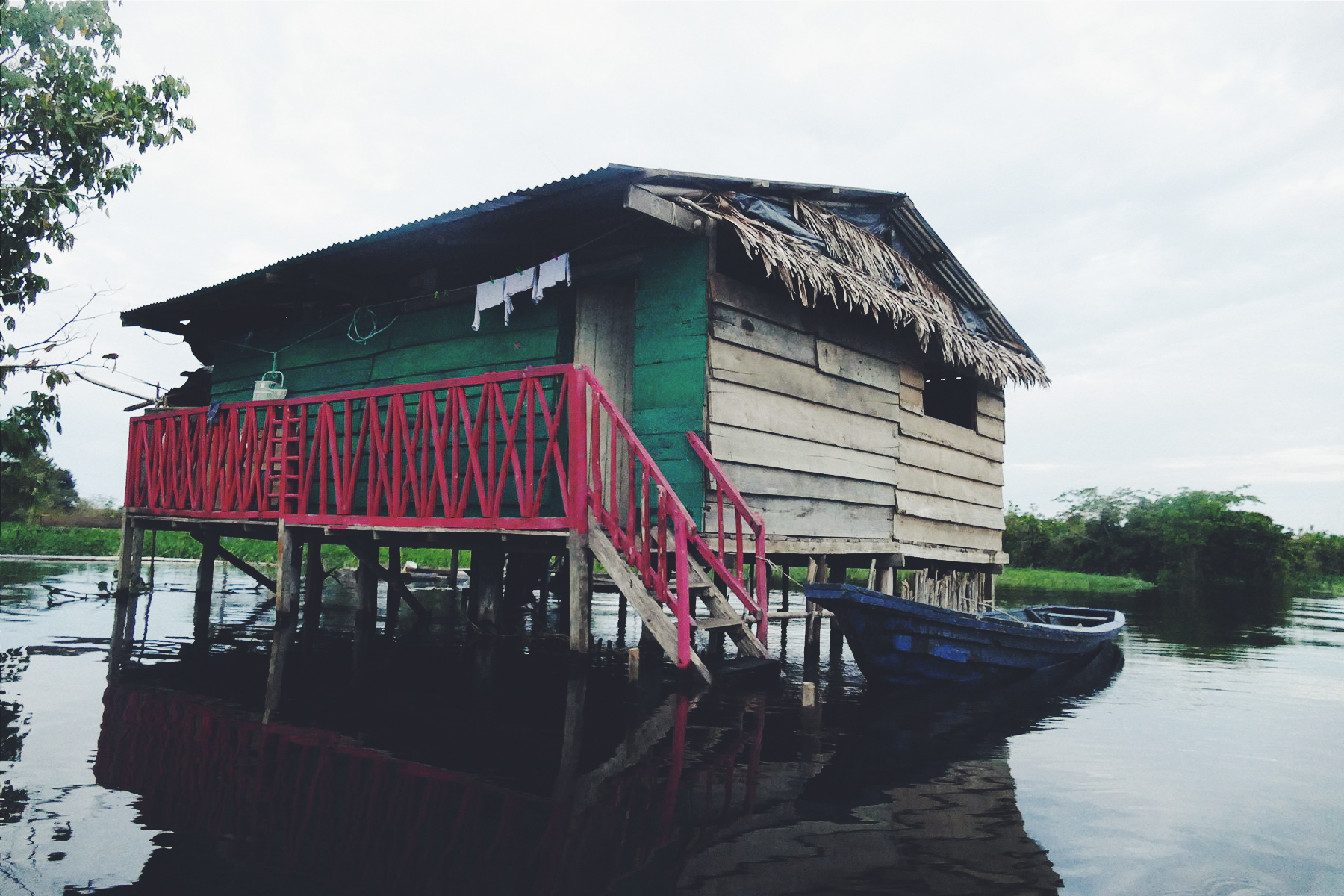 An outlying house in a flooded area near Iquitos, Peru. Noah Strycker