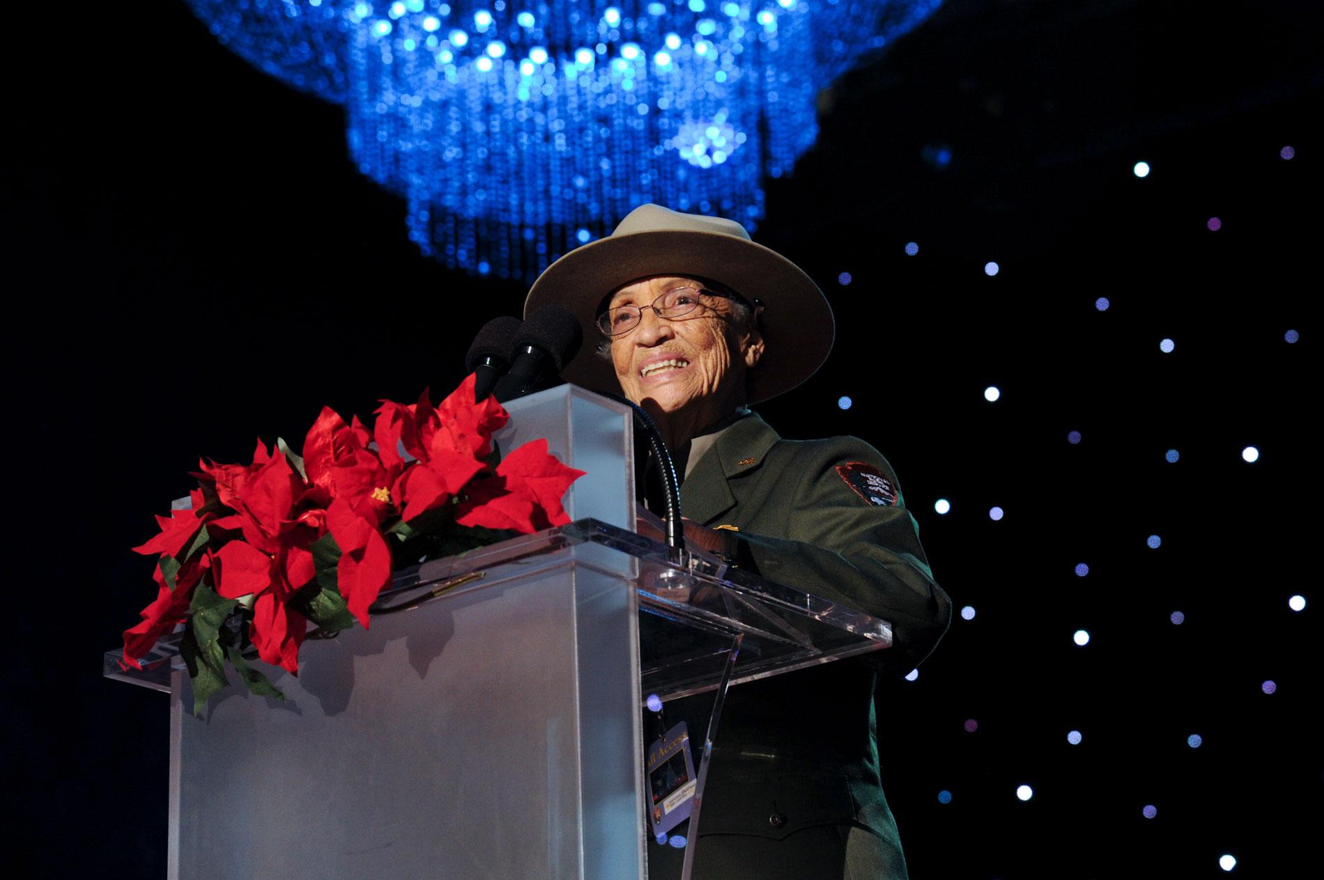 Soskin rocking the ranger regalia and introducing President Barack Obama at the 2015 National Christmas Tree Lighting Ceremony in Washington, D.C. DOI/T. Heilemann