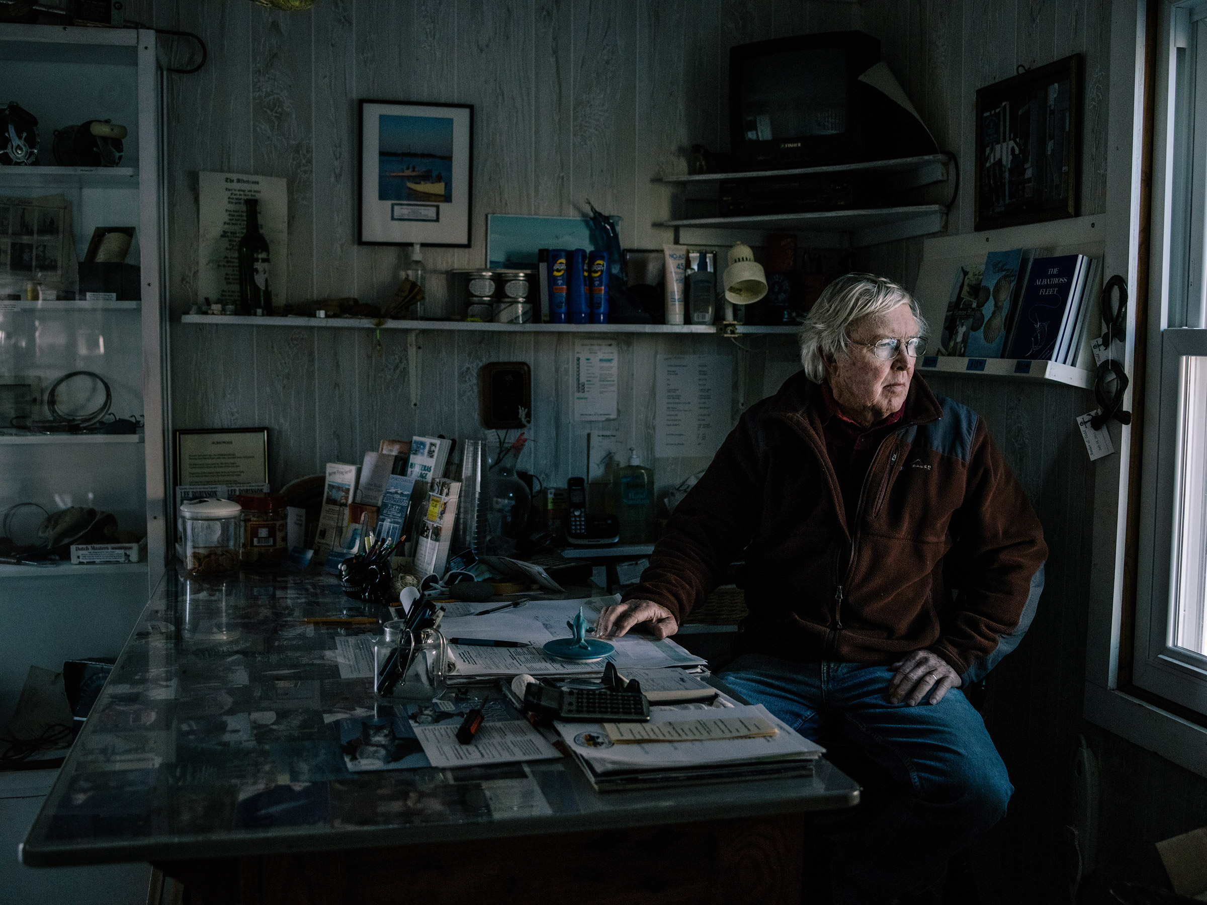 Ernie Foster, who lives in Hatteras, runs the Albatross Fleet, a deep-sea fishing business on the Outer Banks. Foster's family can be traced back several generations in Hatteras. Greg Kahn