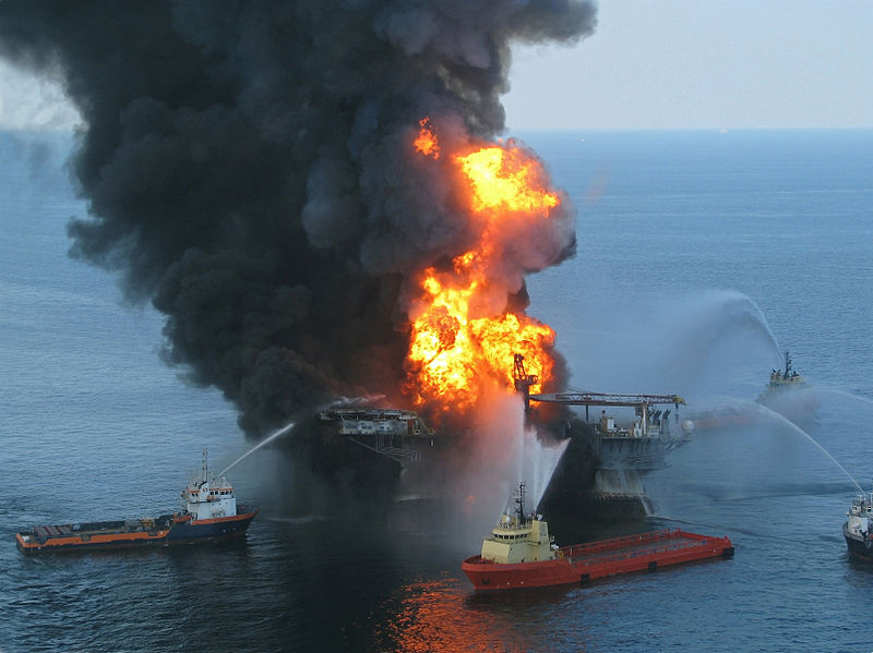 The flaming remnants of the offshore oil rig Deepwater Horizon. Courtesy of the U.S. Coast Guard