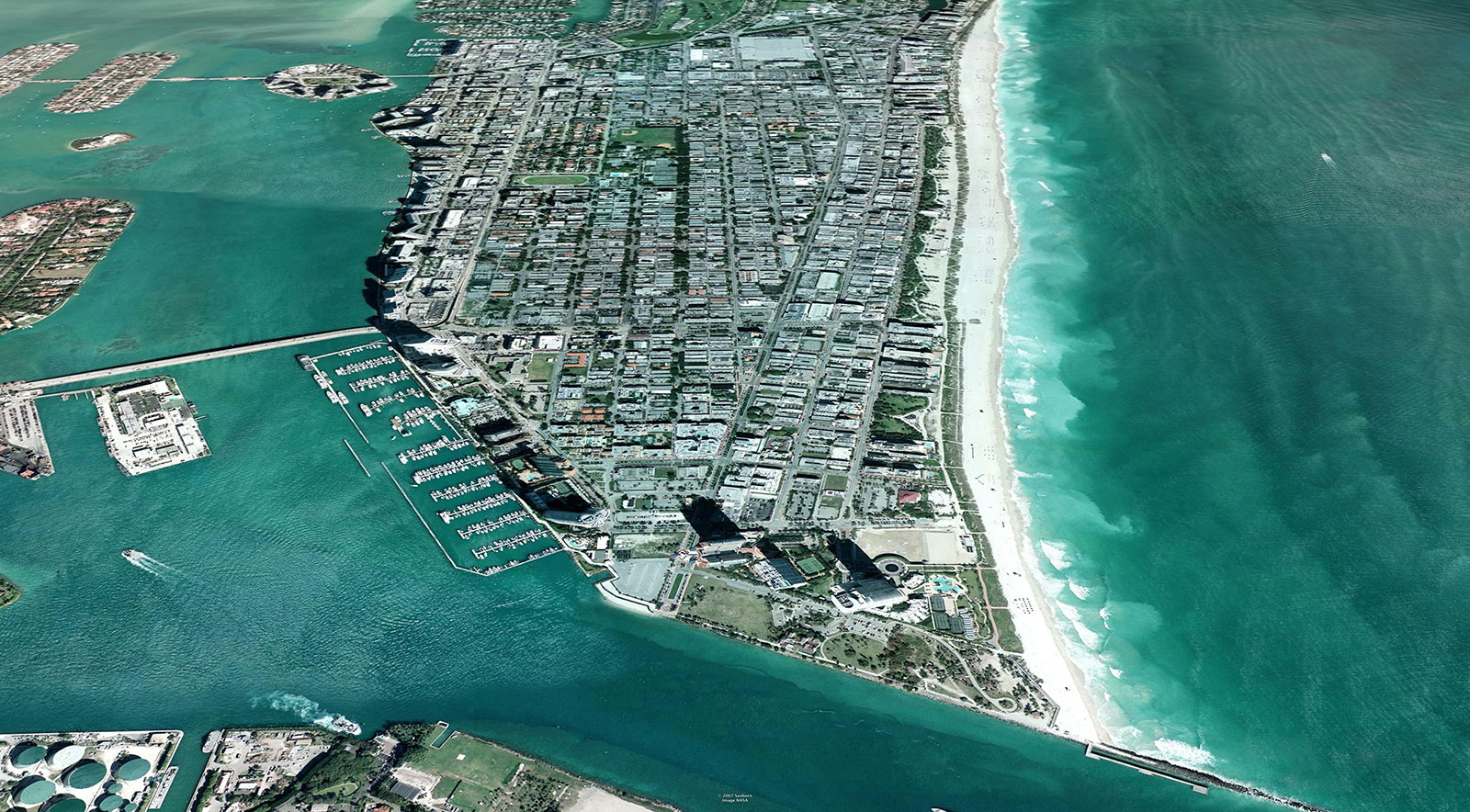 """Image showing the """"existing"""" conditions on the coastline of beaches in Miami, Florida. Image Credit: ©2007 Google, Inc."""