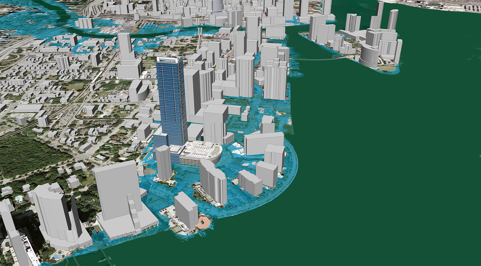 Image depicting inundation scenario in 2030 when sea level has risen one meter. Image Credit: ©2007 2030, Inc / Architecture 2030 and ©2007 Google, Inc.