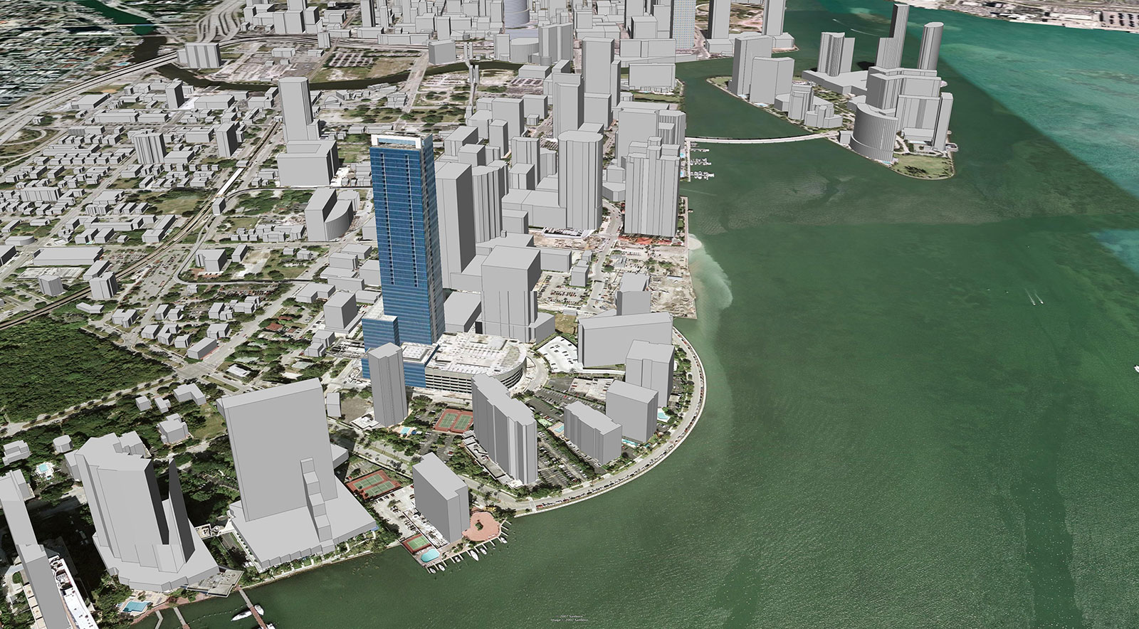 """Image that shows the """"existing"""" conditions on the Miami city coastline. Photo Credit: ©2007 Google, Inc."""