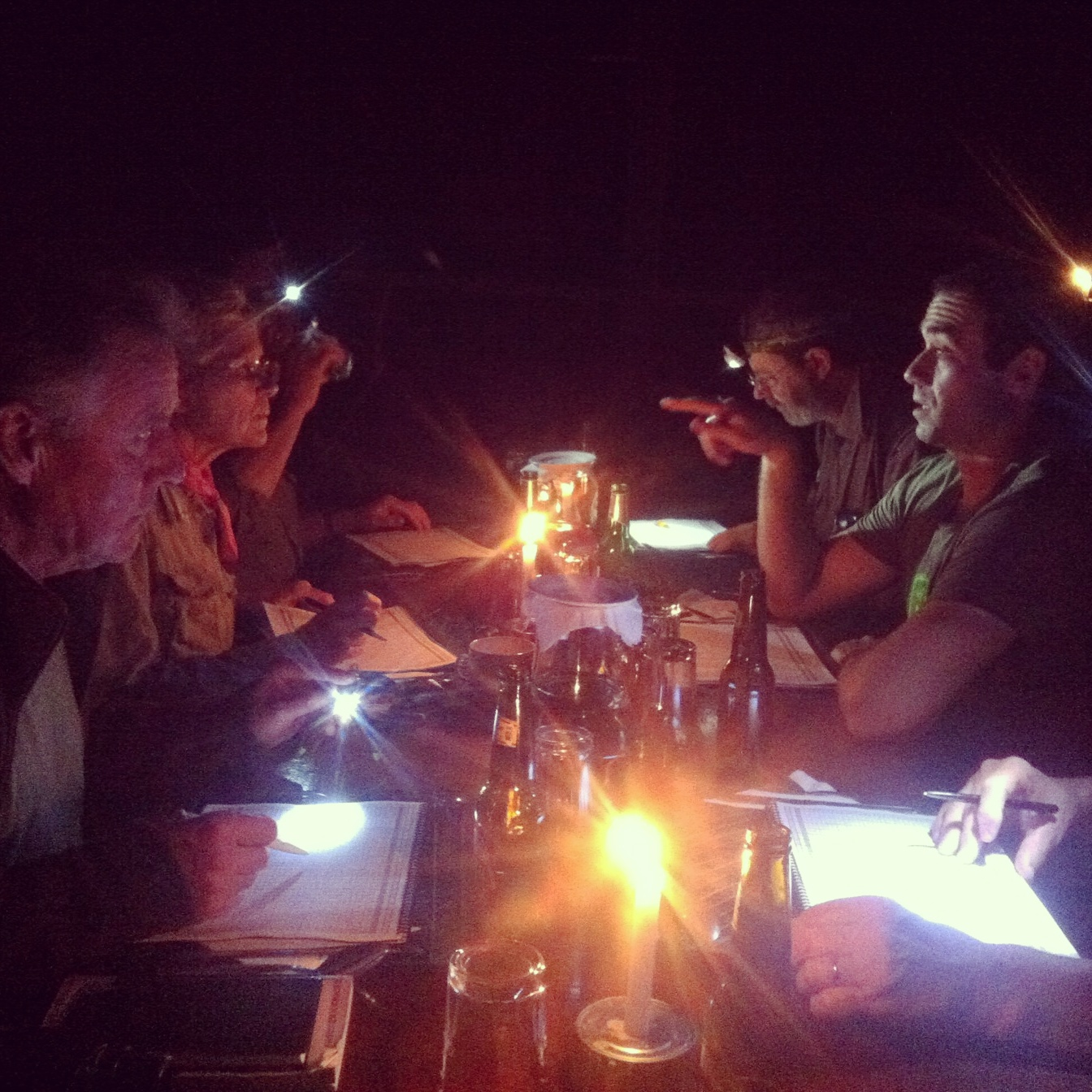 The group goes over the daily bird list by candlelight at the end of a long day at Shiripuno, Ecuador. Noah Strycker