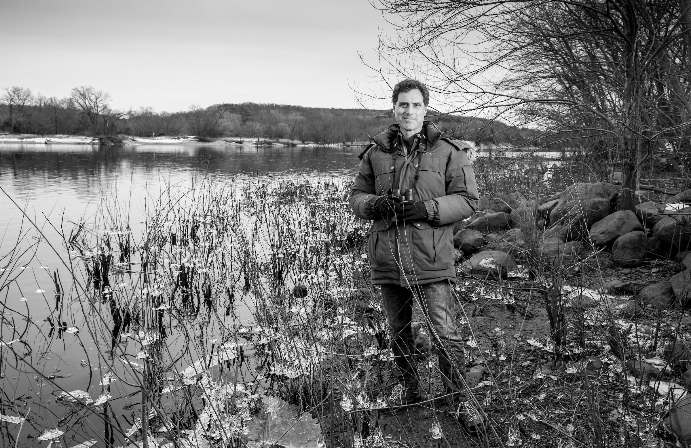 """Goldberg along the Wisconsin River. """"We should really know what's going on with our national bird,"""" he says. Tom Lynn"""