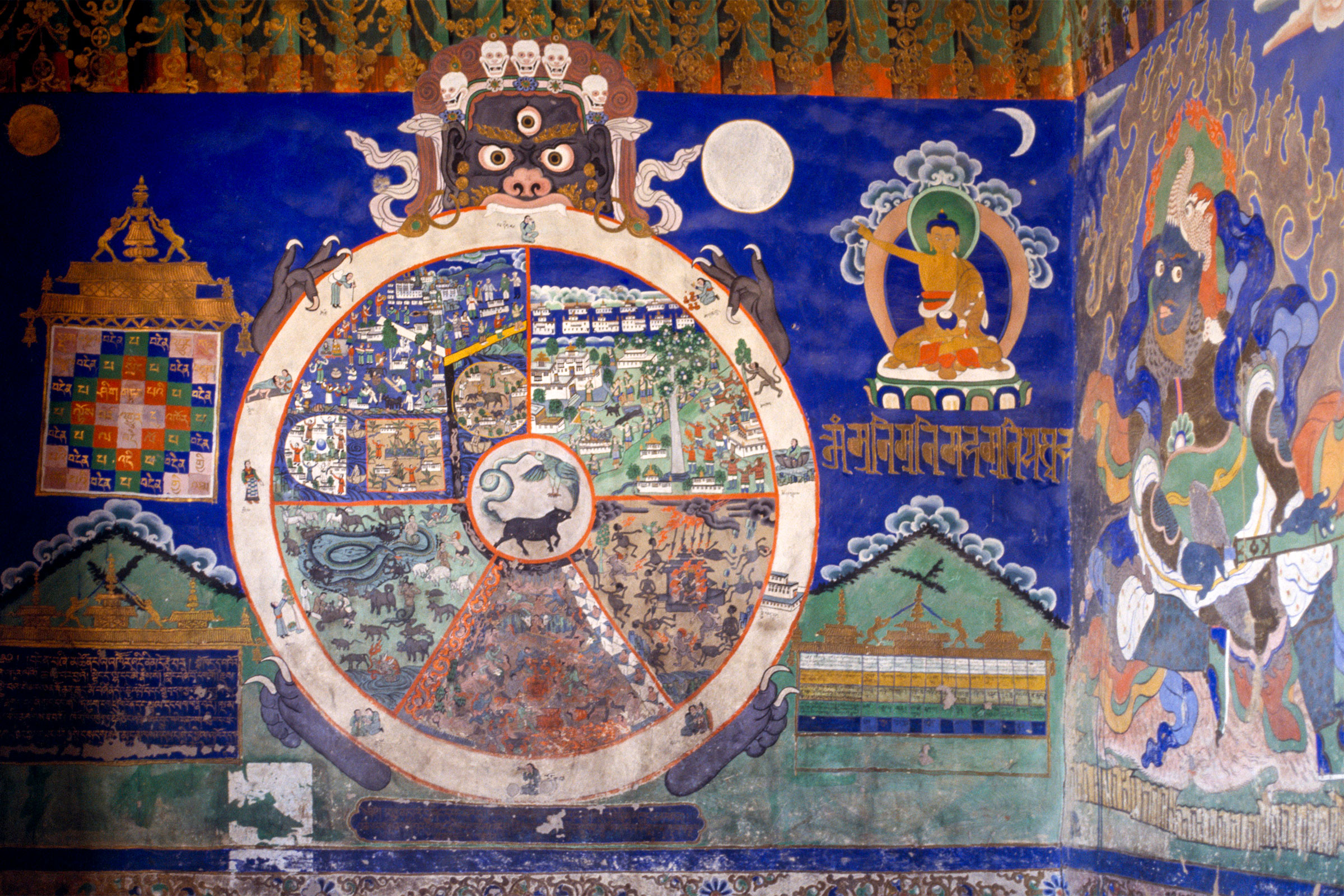 A fresco in a Buddhist monastery in India depicting The Wheel of Existence. Eye Ubiquitous/Alamy