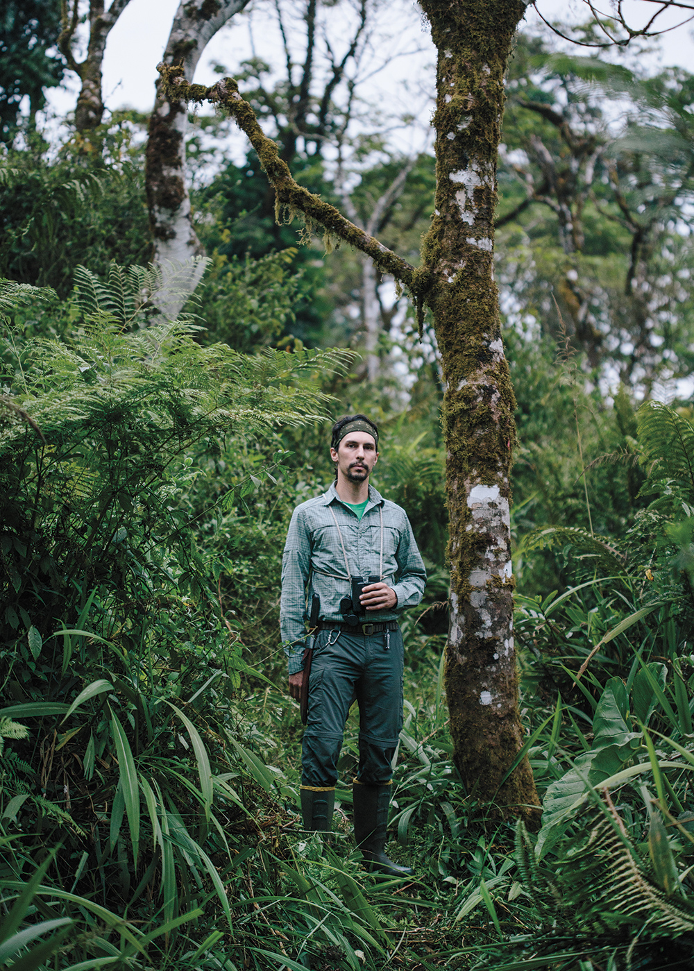 Years of bird work in the Amazon taught Luke Powell (above) to carry a machete in tropical forests and to put his binoculars on a rope harness, which reduces bounce when navigating rough terrain. Tristan Spinski