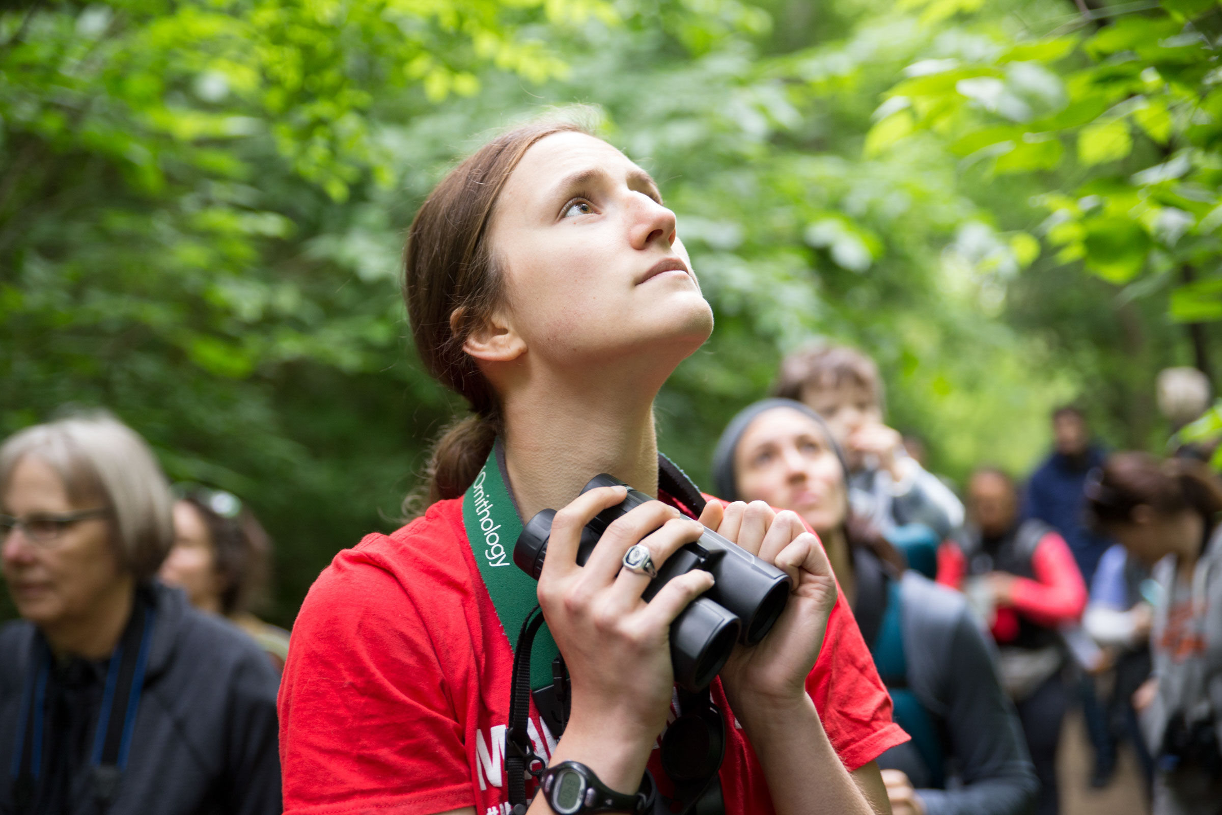 High school student Claire Wayner doubles as a highly skilled bird guide. She can easily pick out and ID songbirds by ear, helping us log more species than we see on the final day of the festival. Camilla Cerea/Audubon