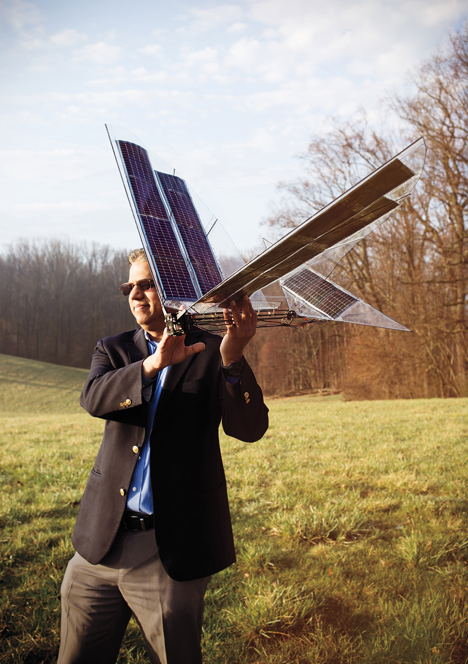 Satyandra K. Gupta, who led the development team, gets ready to launch Robo Raven III, which is capable of partially recharging in flight. Mike Fernandez/Audubon