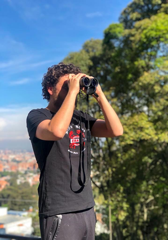 Santiago Flórez birding from his terrace in Bogotá. Courtesy of Santiago Flórez