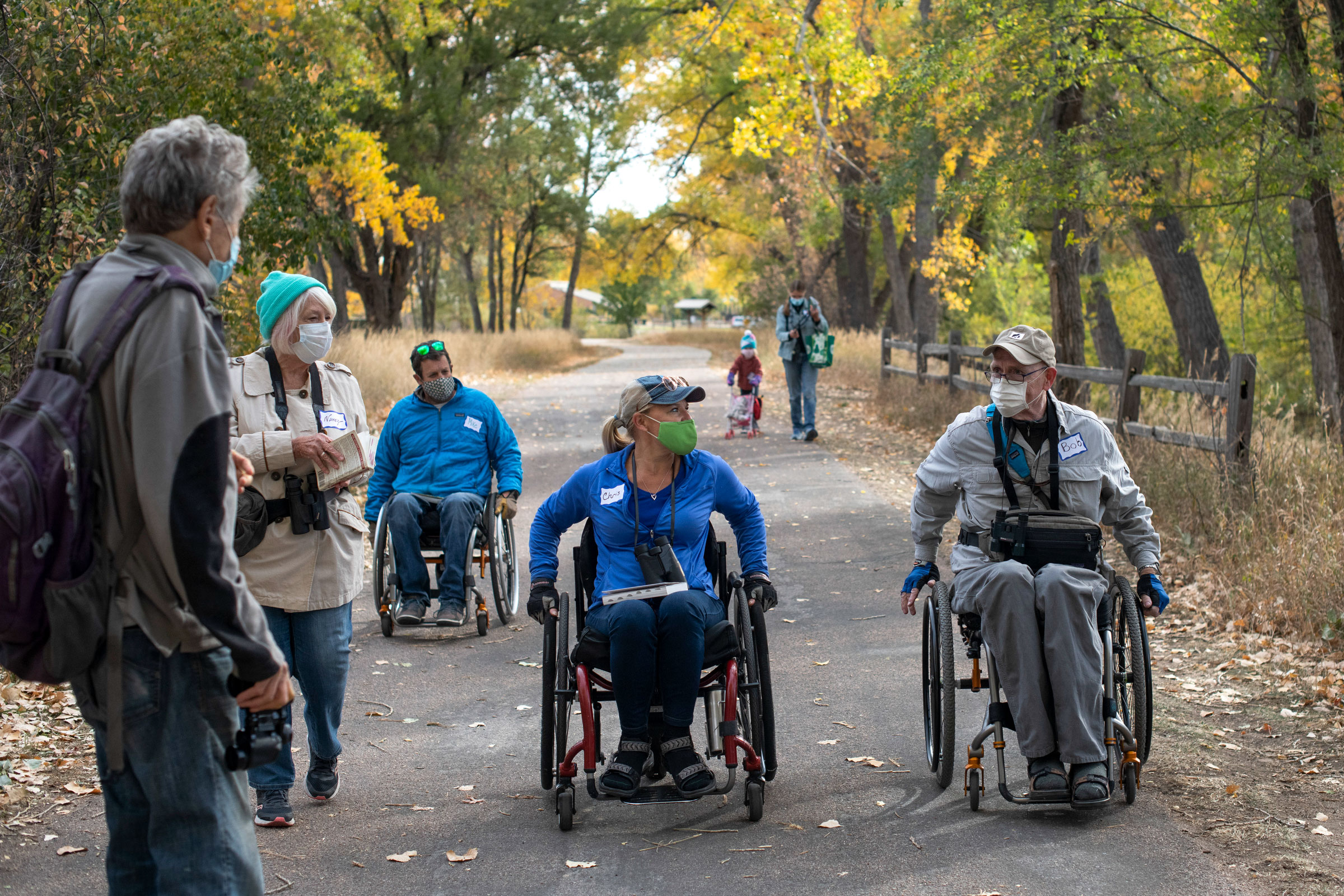 Attendees of a Birding Without Barriers trip discuss their sightings on the move. Rachel Woolf