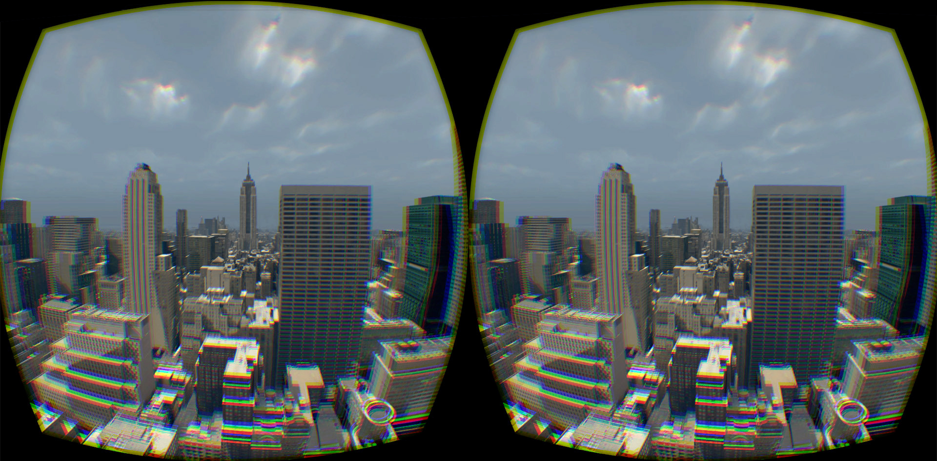 The Birdly aerial view of Manhattan, New York, through an Oculus Rift headset. Courtesy of Somniacs/Future of StoryTelling
