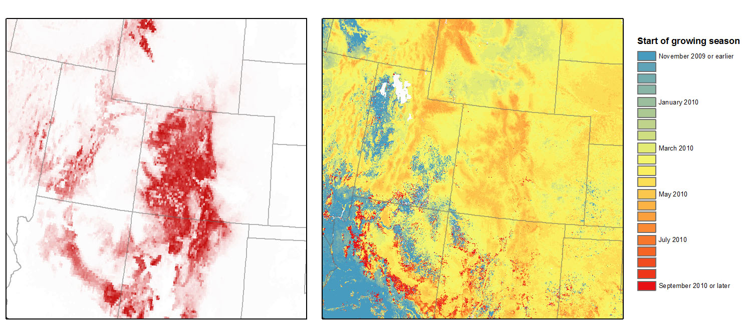 Breeding distribution of Broad-tailed Hummingbird (left) coincides with the start of the growing season (right) in that landscape. Left map: National Audubon Society, Right map: Courtesy of the U.S. Geological Survey