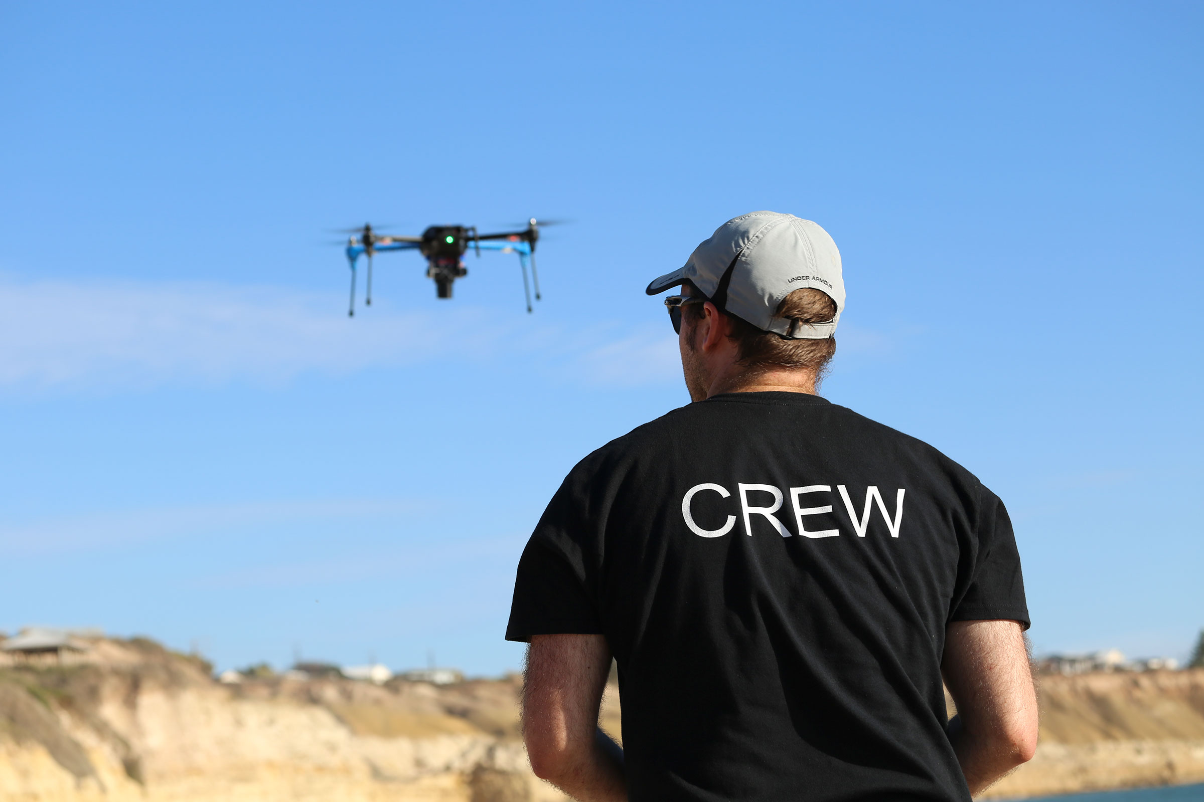A small drone, controlled by remote control, is easily piloted from the ground. Jarrod Hodgson