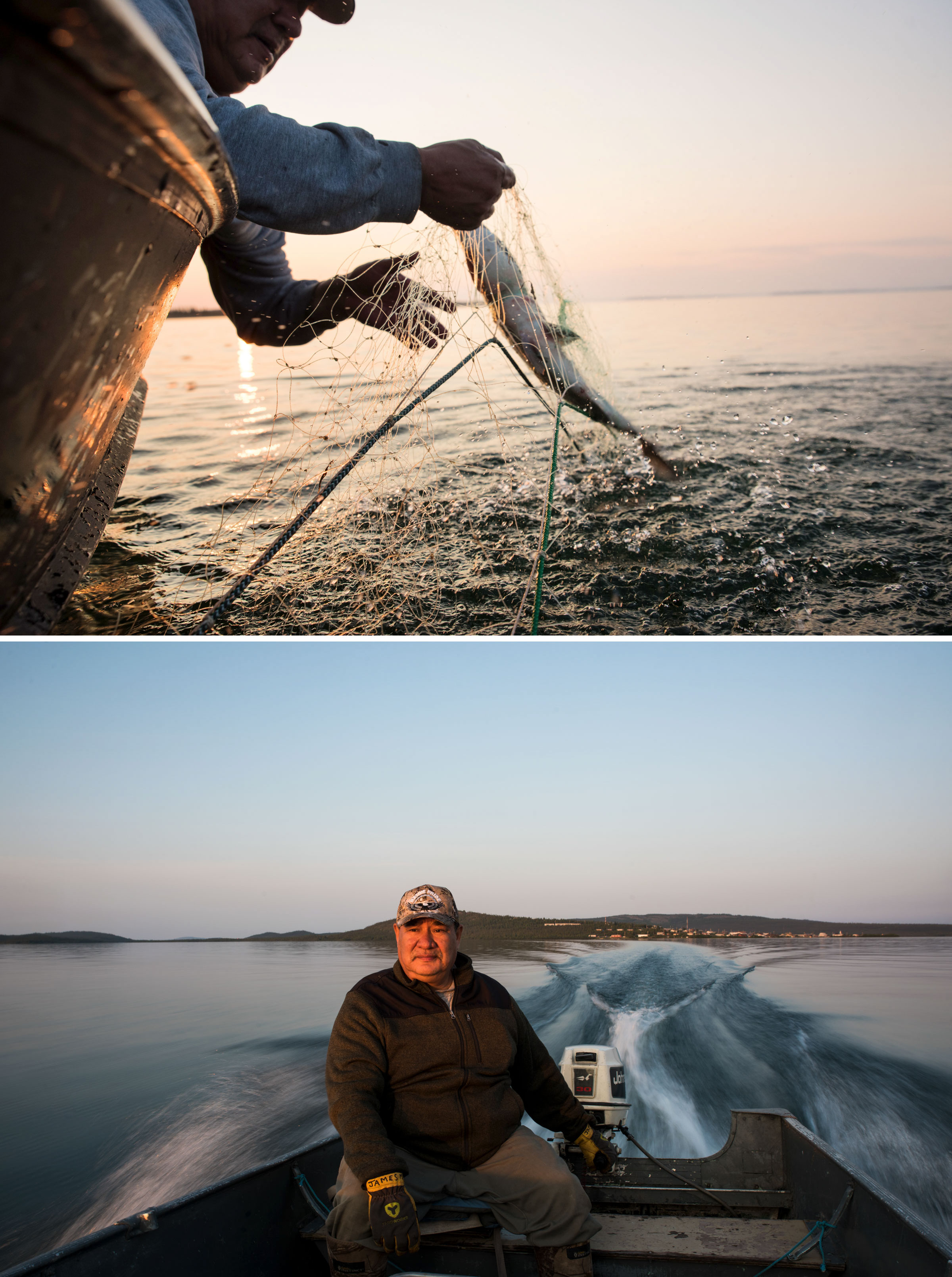 James Marlowe pulls up a trout (top) near Lutsel K'e and takes an evening boat ride to check his fish nets (bottom). Photos: Pat Kane