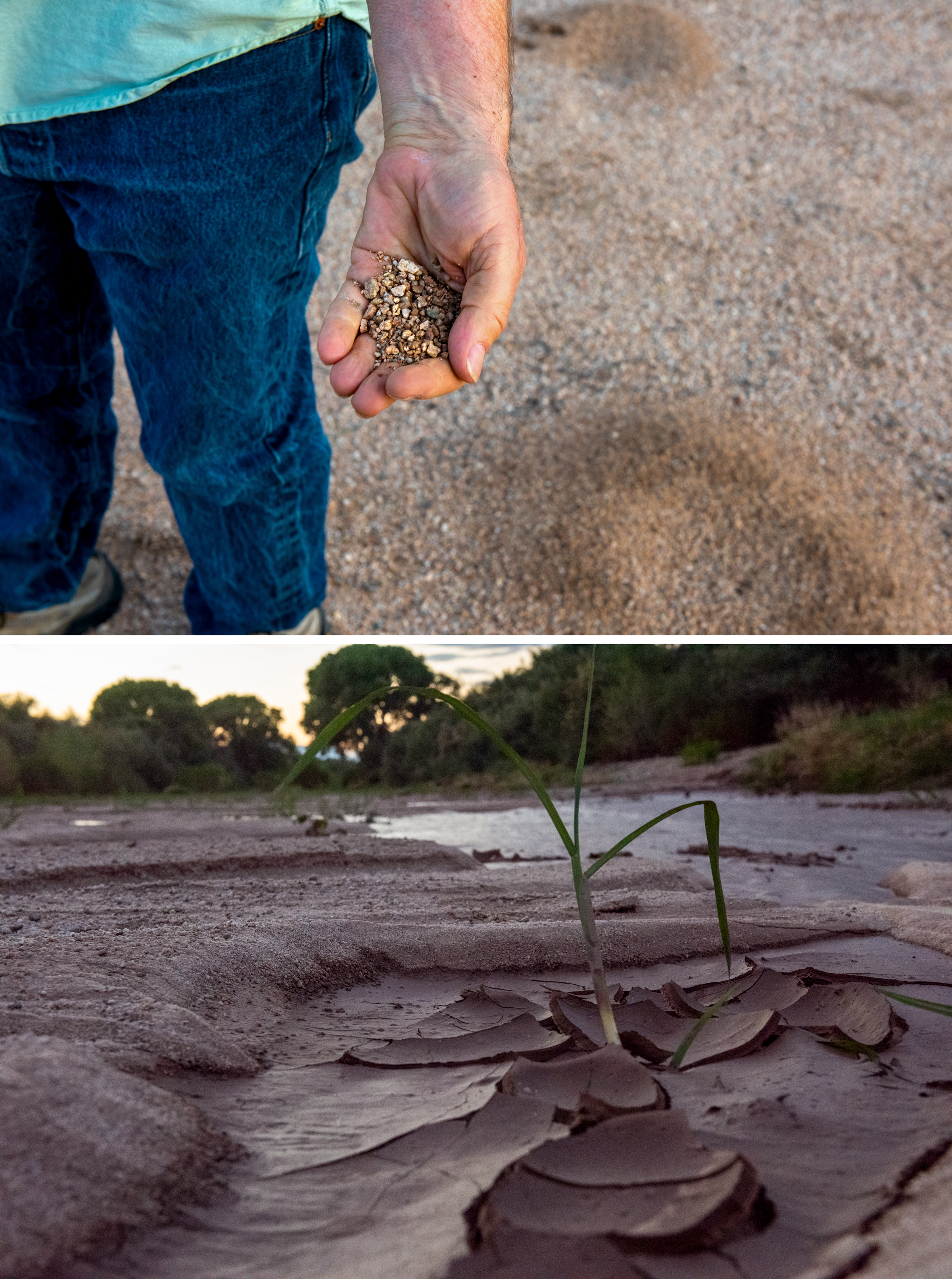 Hydrologist Mark Murphy, top, examines soil at the Villages at Vigneto site. The river bed of the San Pedro, bottom. Photos: Ash Ponders