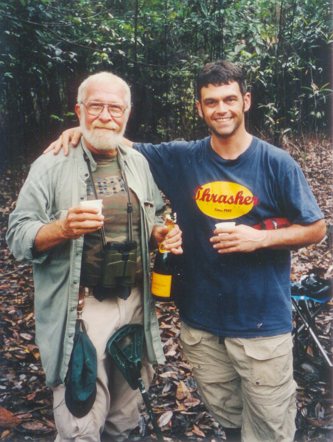 Father and son in Brazil's Jaú National Park in 1999, just after Richard sighted the Yapacana Antbird, his 7,000th species. Courtesy of Dan Koeppel