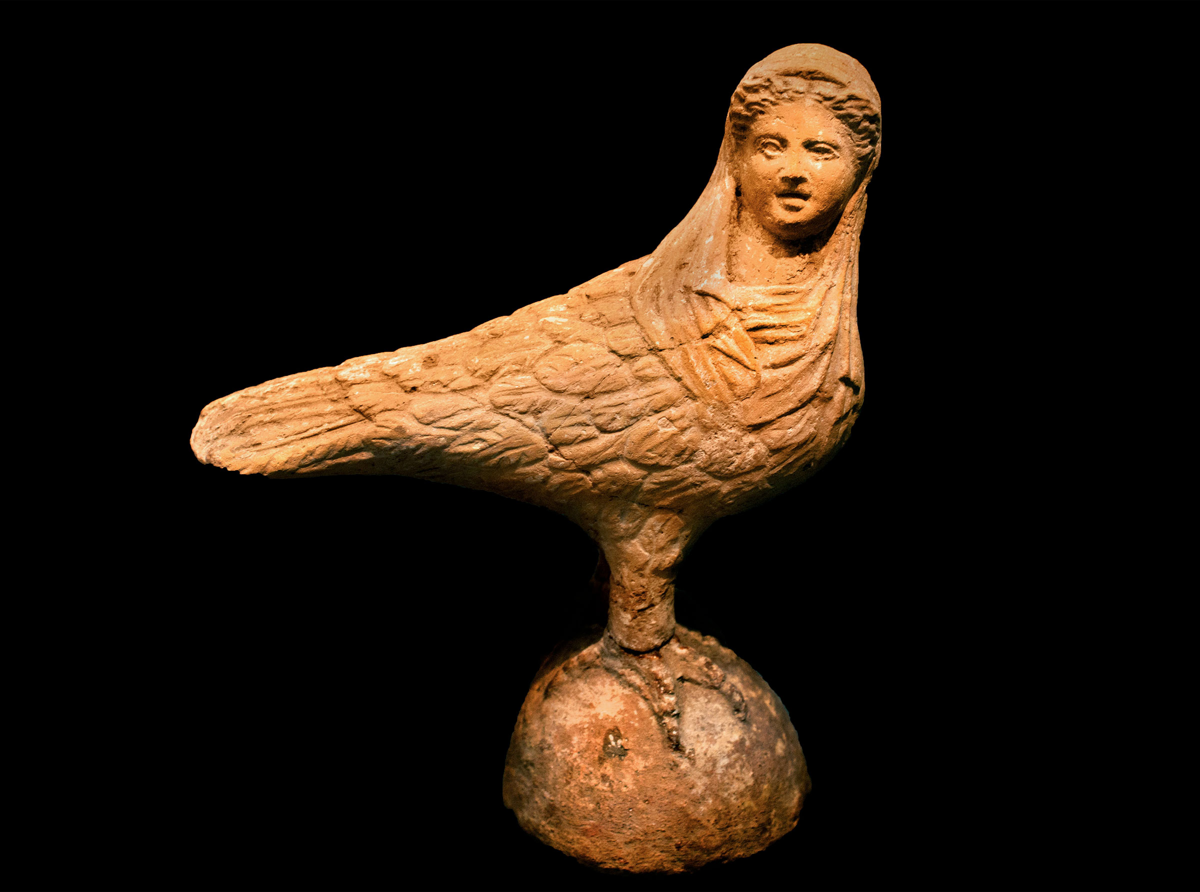 No mermaids here: A terracotta Siren from Greece, 300 BCE, shows the creatures in their original, bird-woman form. Peter Horree/Alamy