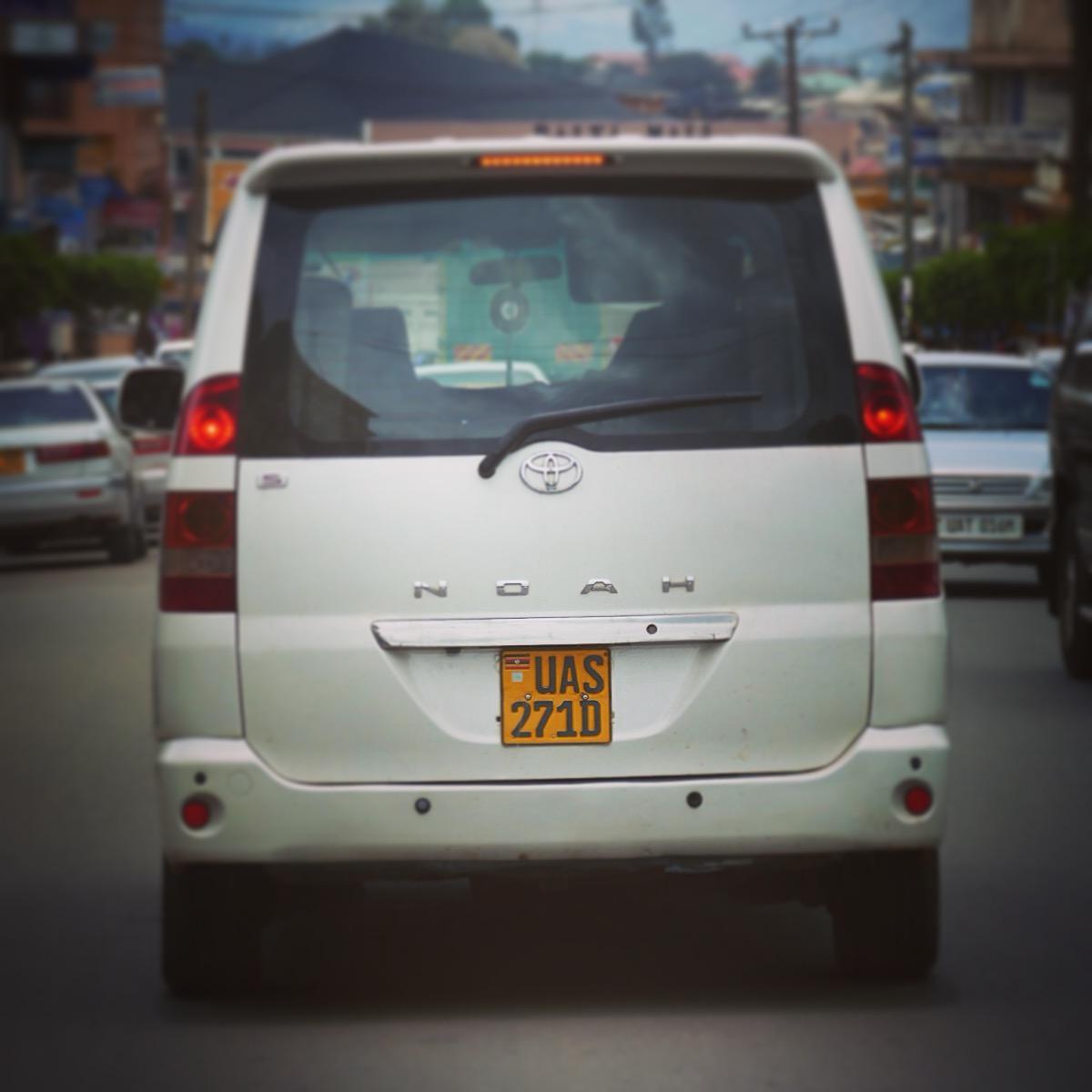 A Toyota Noah on the street in Uganda. Noah Strycker