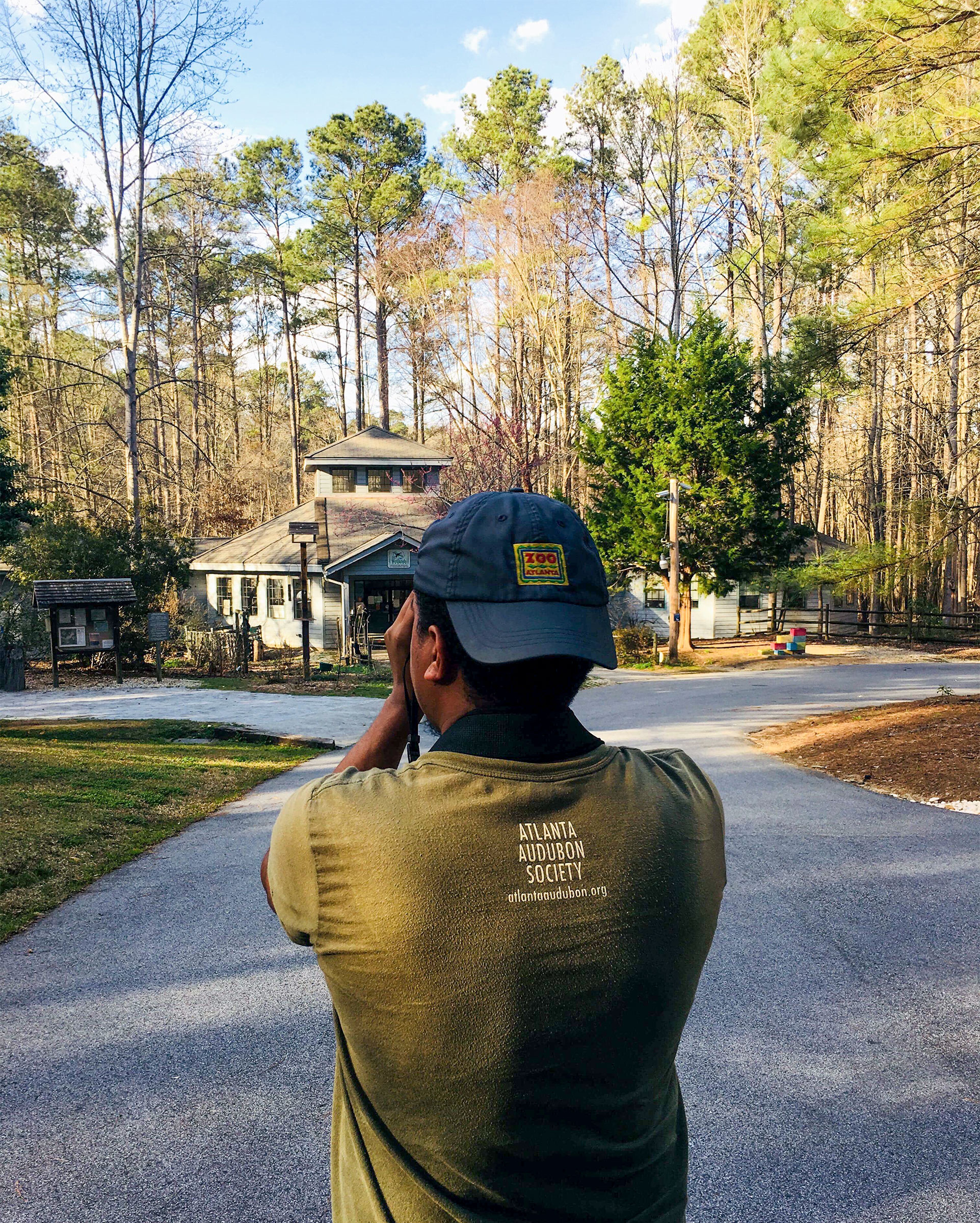 The writer on an Outdoor Afro birding walk at the Melvin L. Newman Wetlands Center, south of Atlanta, Georgia. Courtesy of Jason Ward