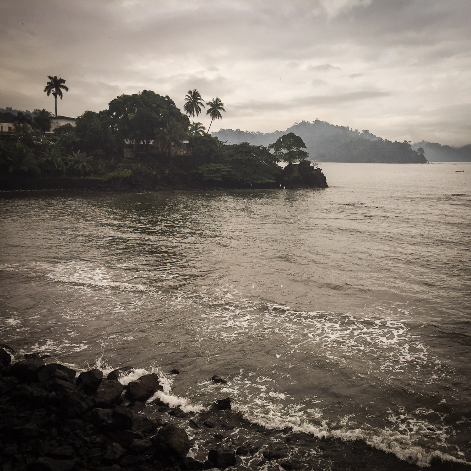 A view of the Douala waterfront with a leaden sky. Noah Strycker