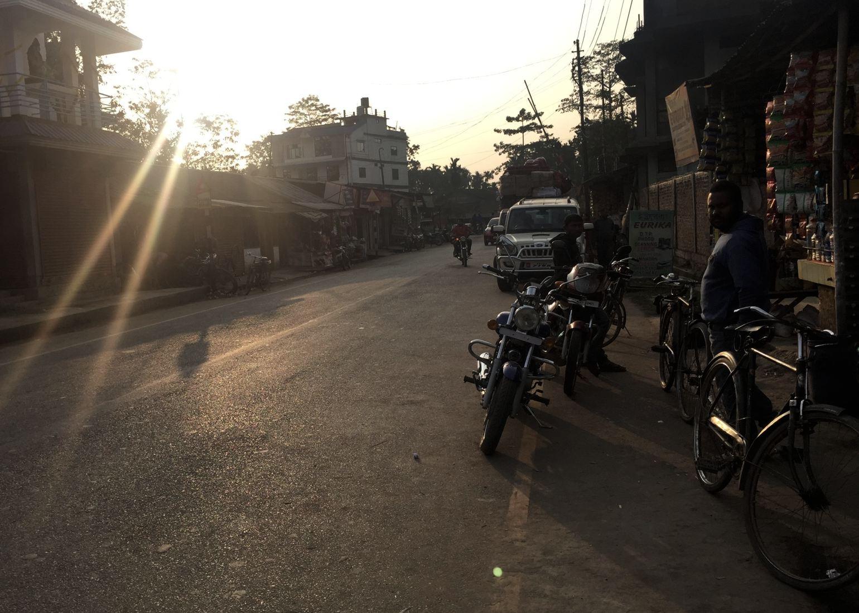 A street scene at sunset in northeast India. Noah Strycker