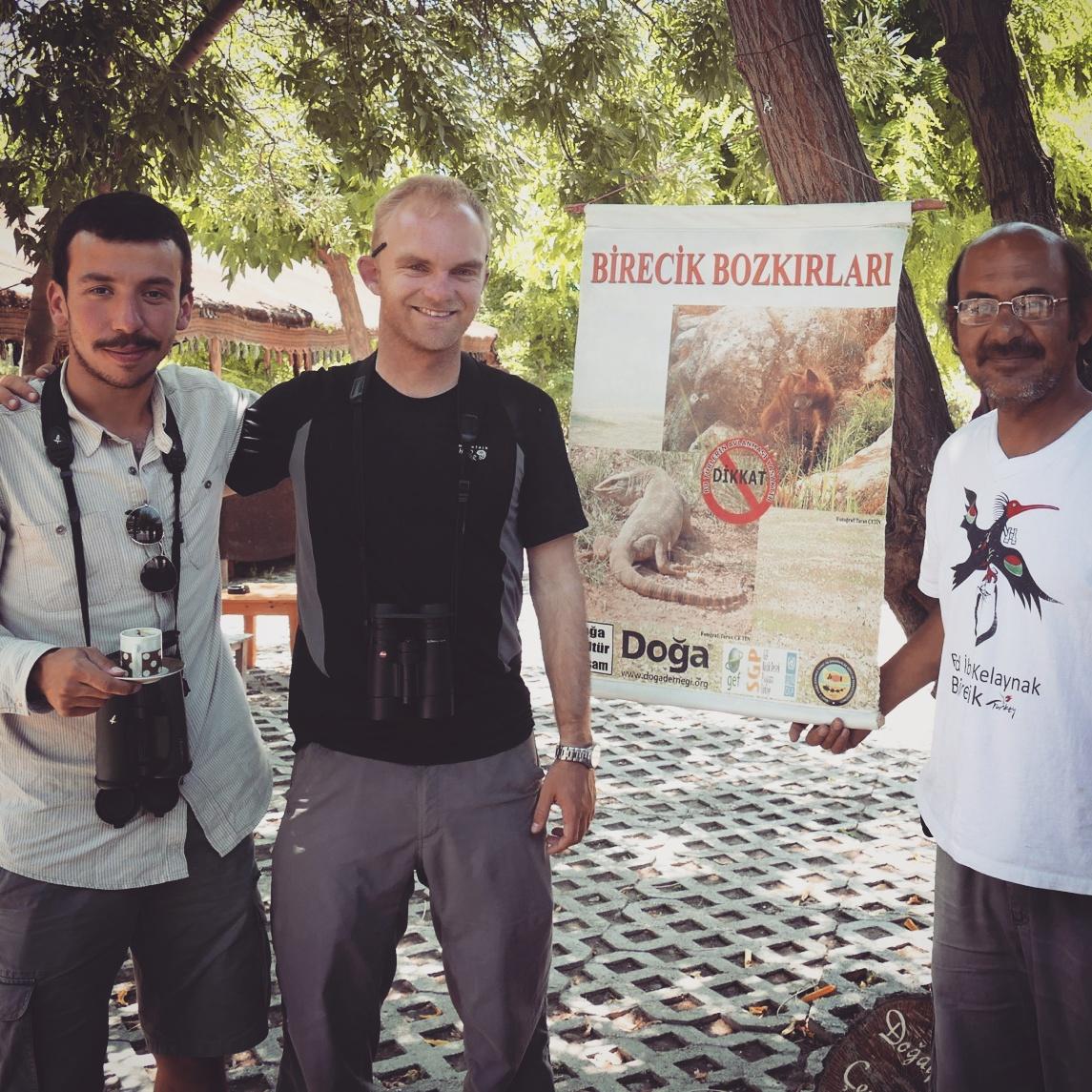 Emin, Noah, and Mustafa at the Bald Ibis Cafe. Noah Strycker