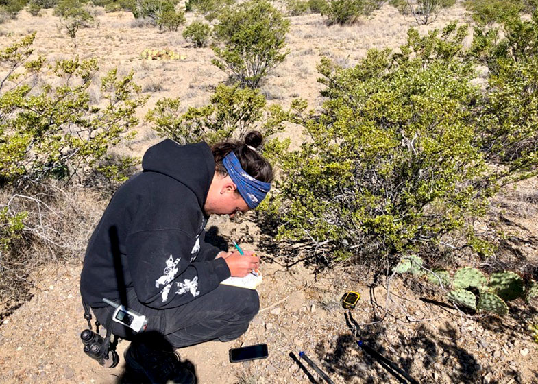 Fischer conducting vegetation surveys at a field site. Kandace Glanville