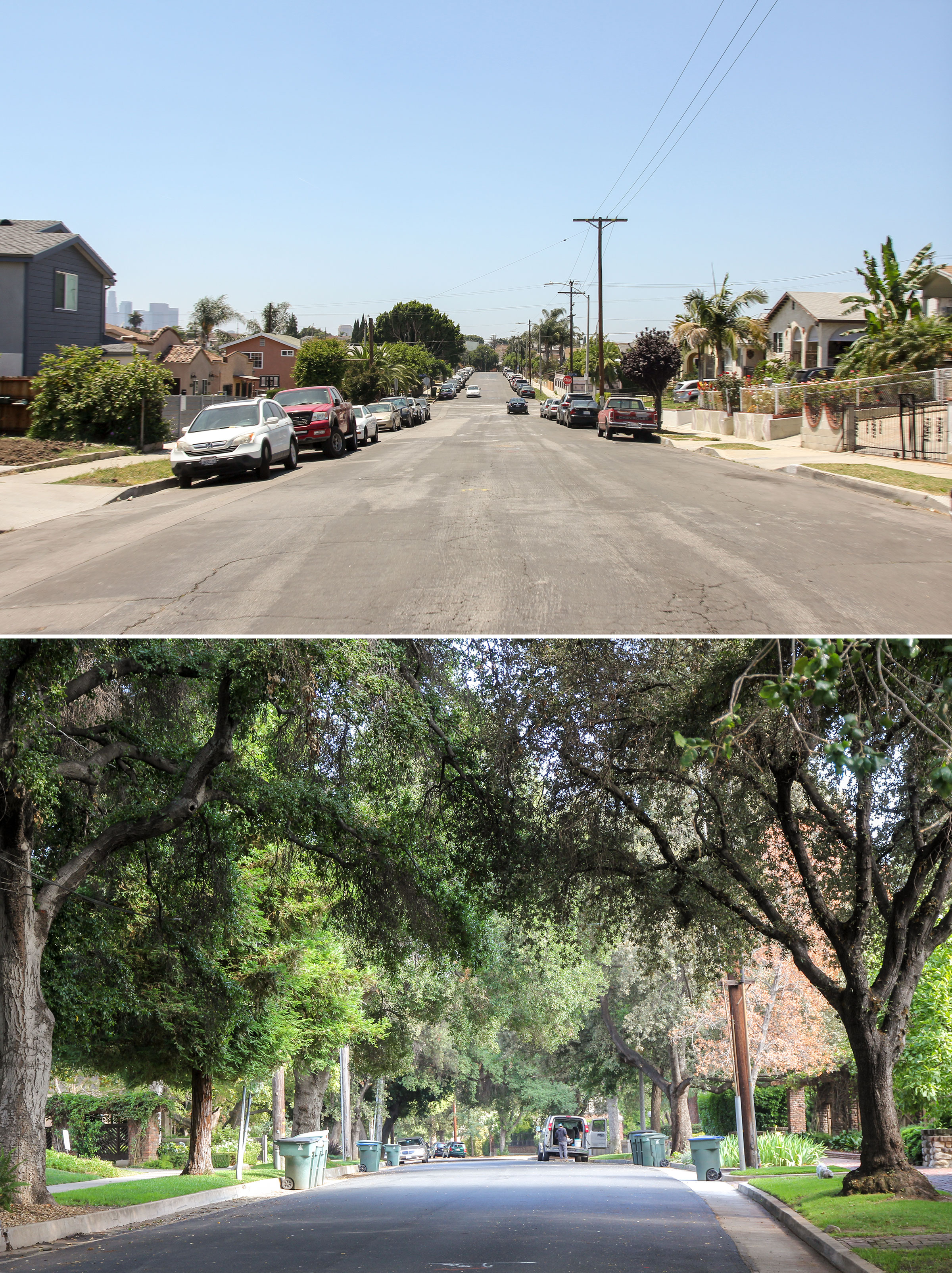 Low-income neighborhood (top) in contrast to a high-income neighborhood (bottom) in Los Angeles County. Photos: Eric Wood