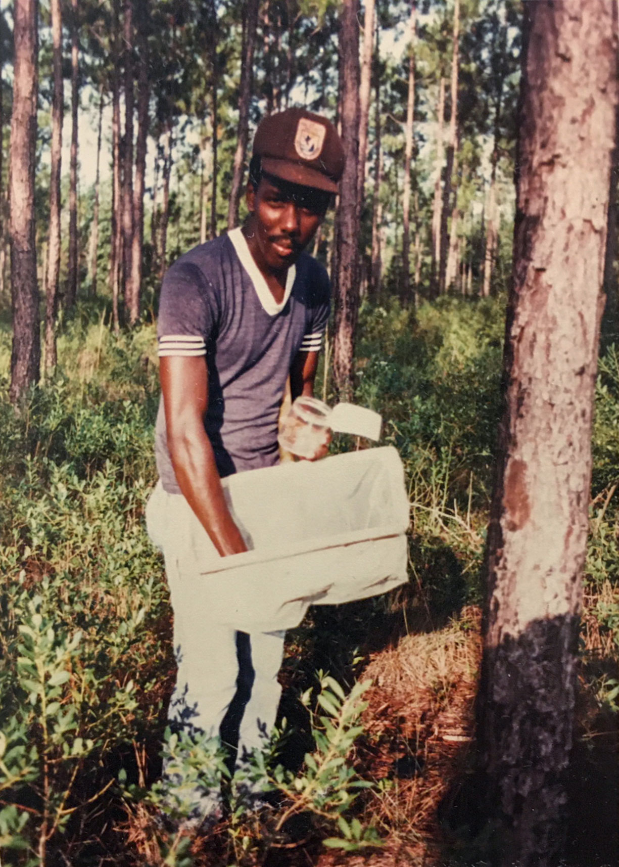 Jerome Ford assisting with insect collection while studying at Grambling State University. Courtesy of  U.S. Fish and Wildlife Service