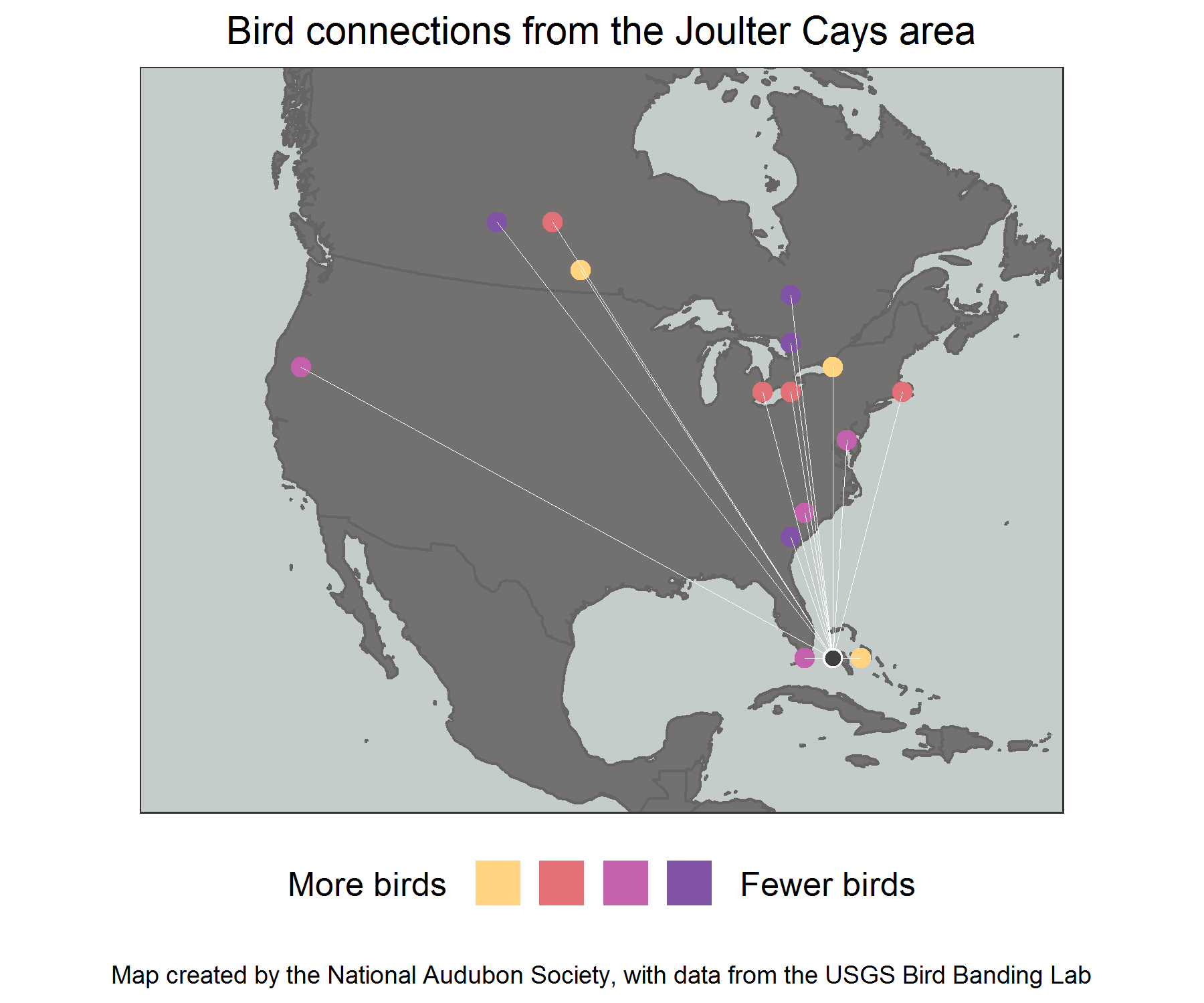 This map from Audubon's Migratory Bird Initiative provides an example of the migratory connections between Joulter Cays and locations throughout North America. Data from USGS Bird Banding Lab. Lotem Taylor/Audubon