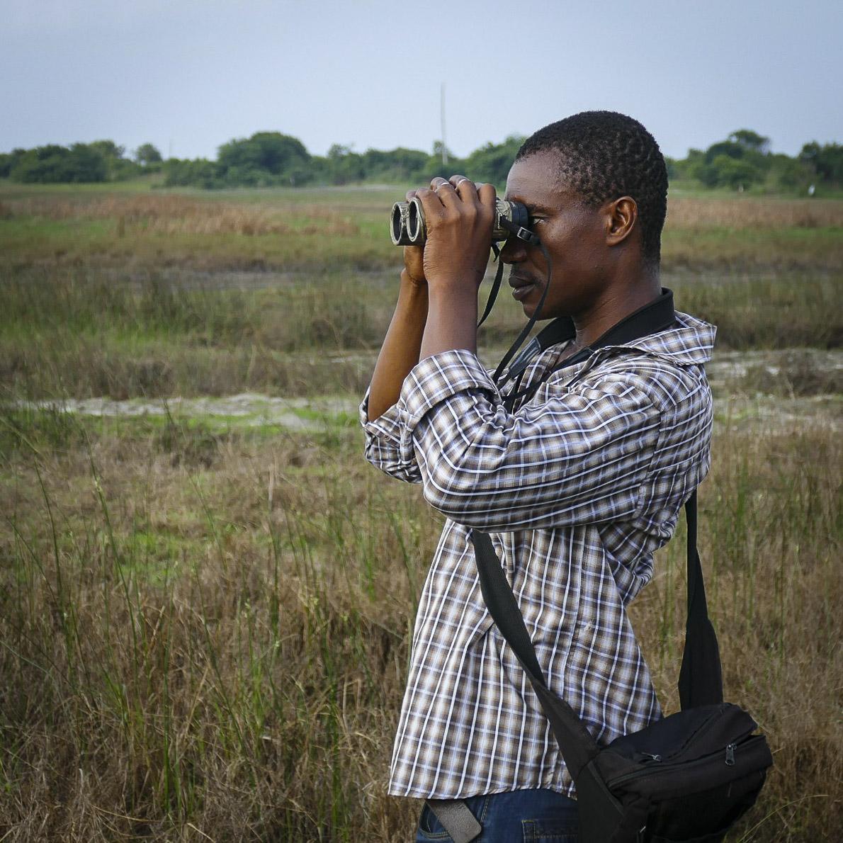 Kalu Afasi looks for birds at Sakumono Lagoon. Noah Strycker