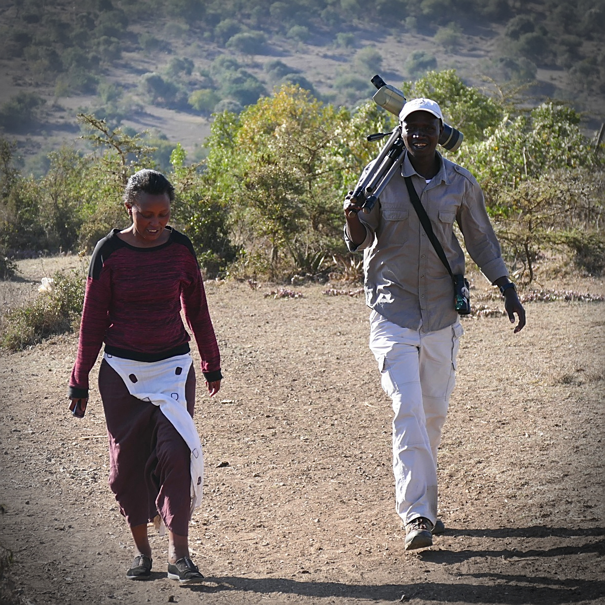 Eunice and Joe return from the Cape Eagle-Owl trail.