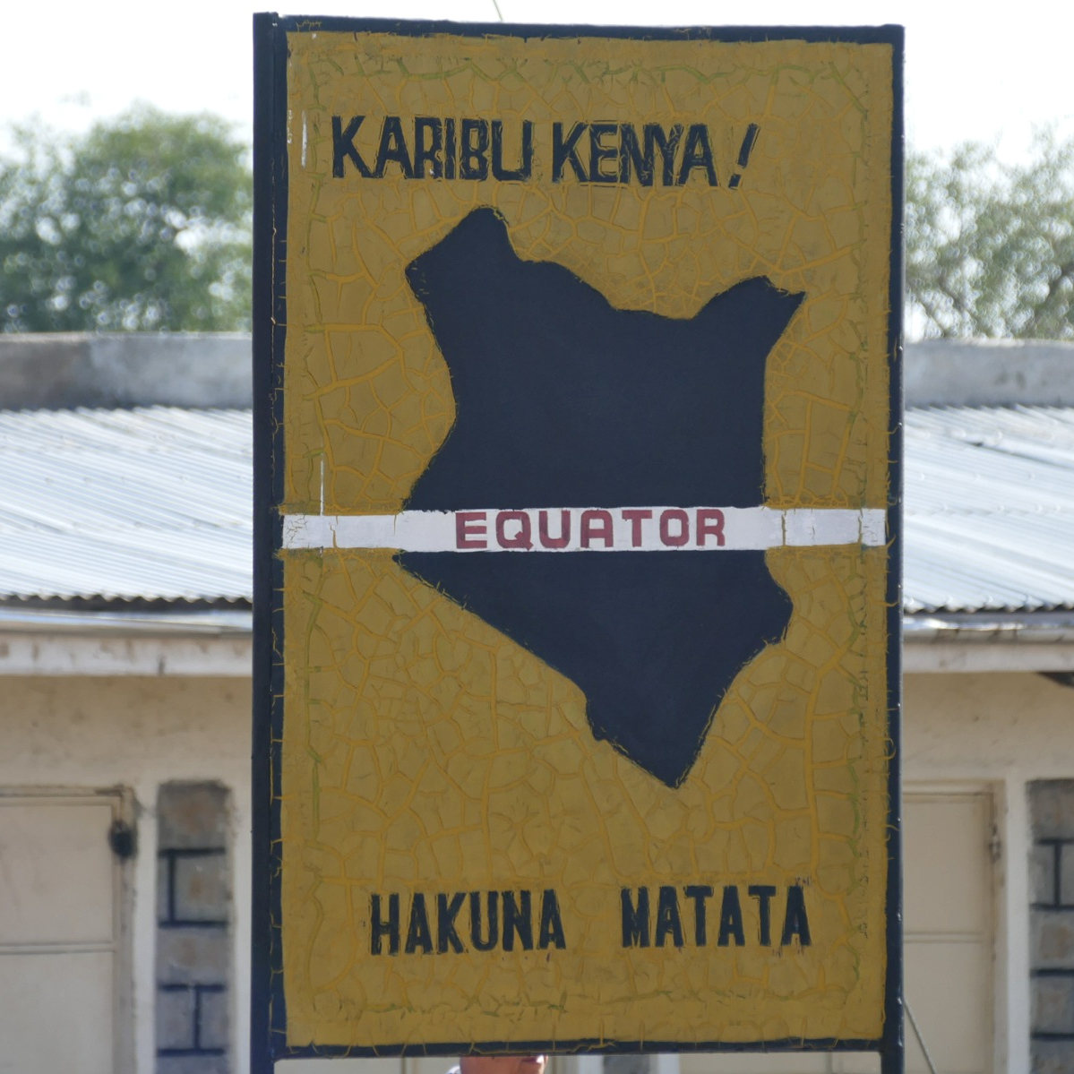 A road sign marks the equator north of Nairobi.