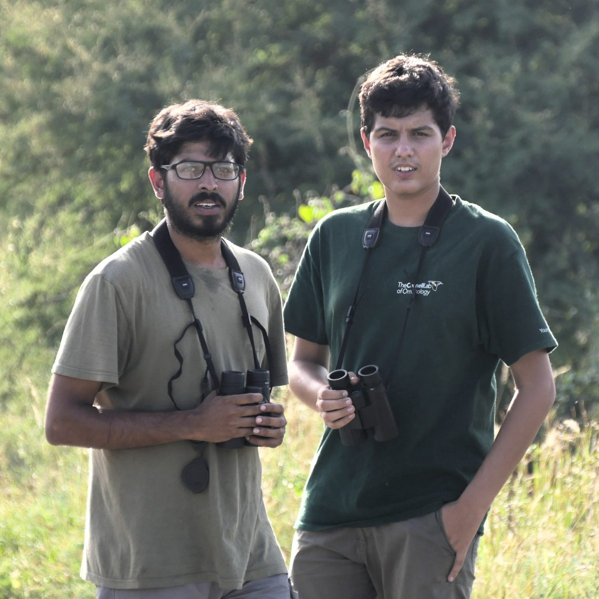 Young birders in India: 24-year-old Ramit Singal and 14-year-old Taksh Sangwan. Noah Strycker