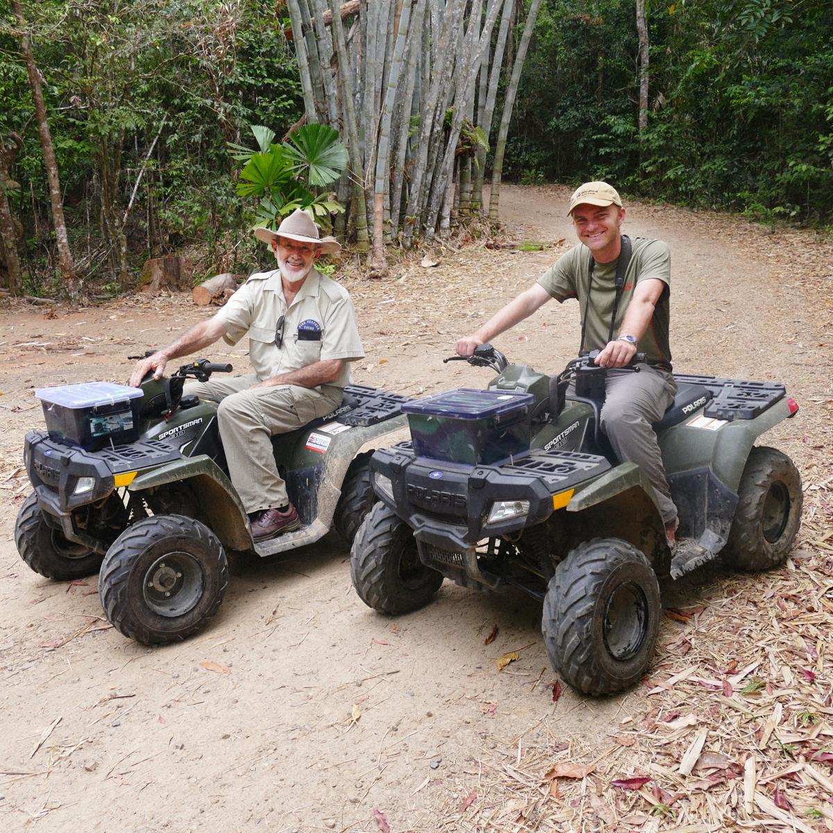 Del and Noah on their quad bikes. Noah Strycker