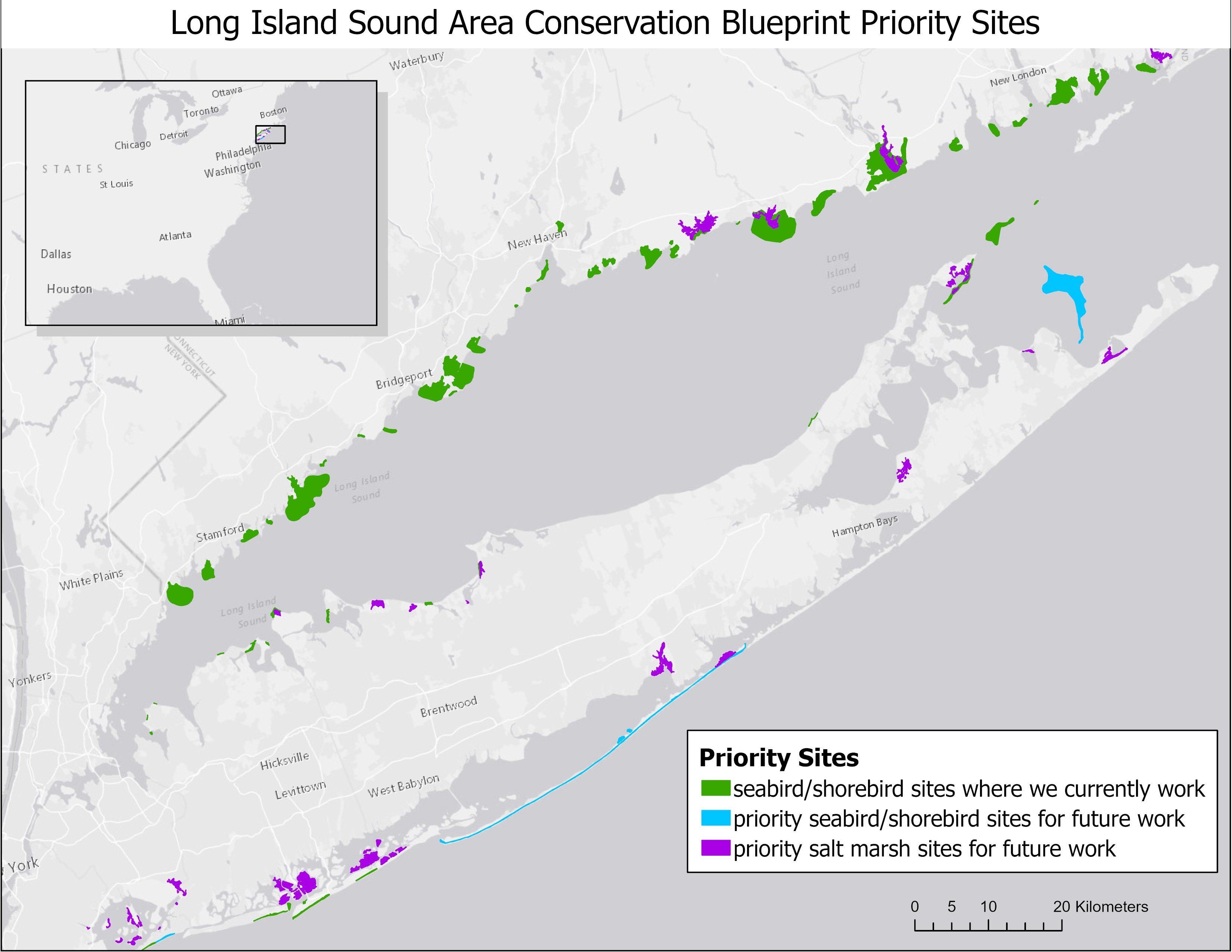 This map shows the sites around the Long Island Sound area where Audubon currently protects sea- and shorebirds, as well as priority sites we identified in our conservation strategy to expand our work in the future. Joanna Grand/Audubon