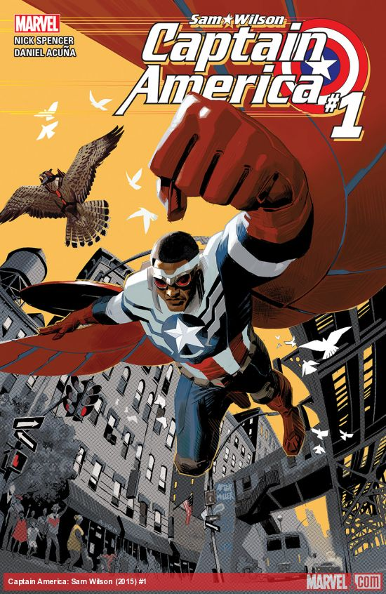 In Volume 1 of Sam Wilson: Captain America, the Falcon and Redwing take over Cap's role as he waits for a re-up on his serum. Cover art: Daniel Acuña/Marvel Universe