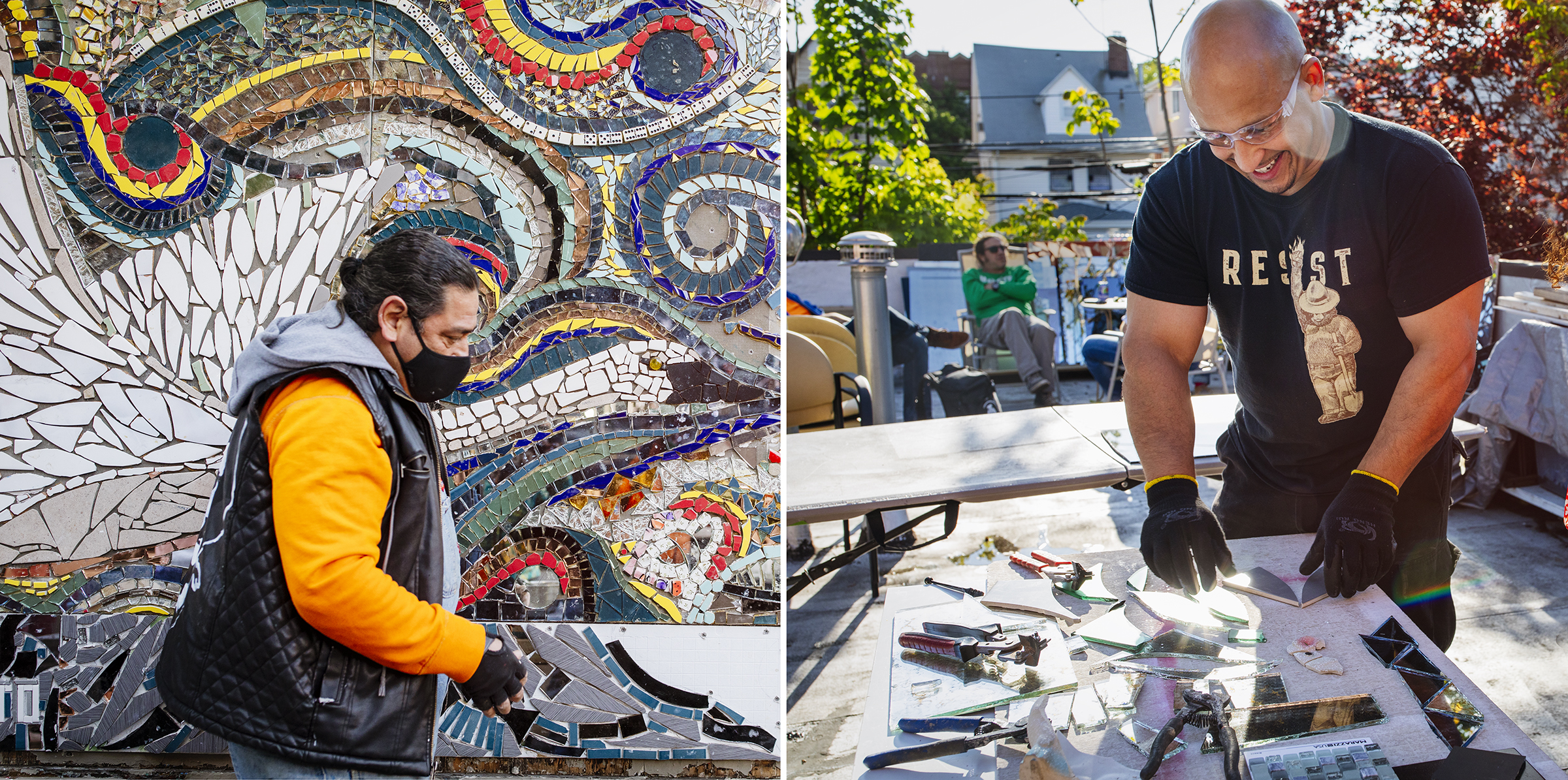 Artists Carlos Pinto on location and John Sear in the Brooklyn studio. Mike Fernandez/Audubon