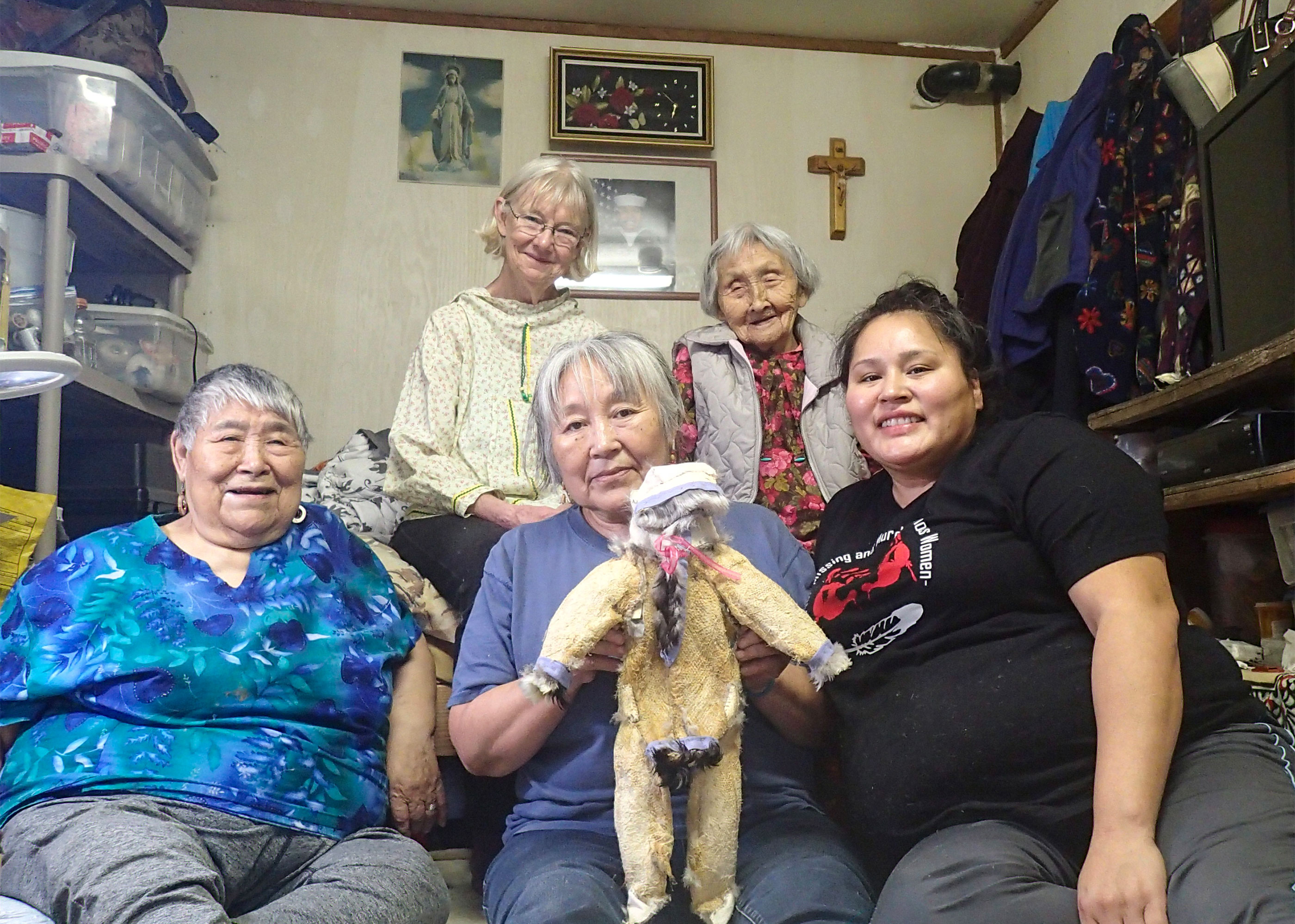 Clockwise from top left: Ann Fienup-Riordan, Albertina Dull, Nellie Jimmie, Ruth Jimmie, and Martina John. Ann Fienup-Riordan