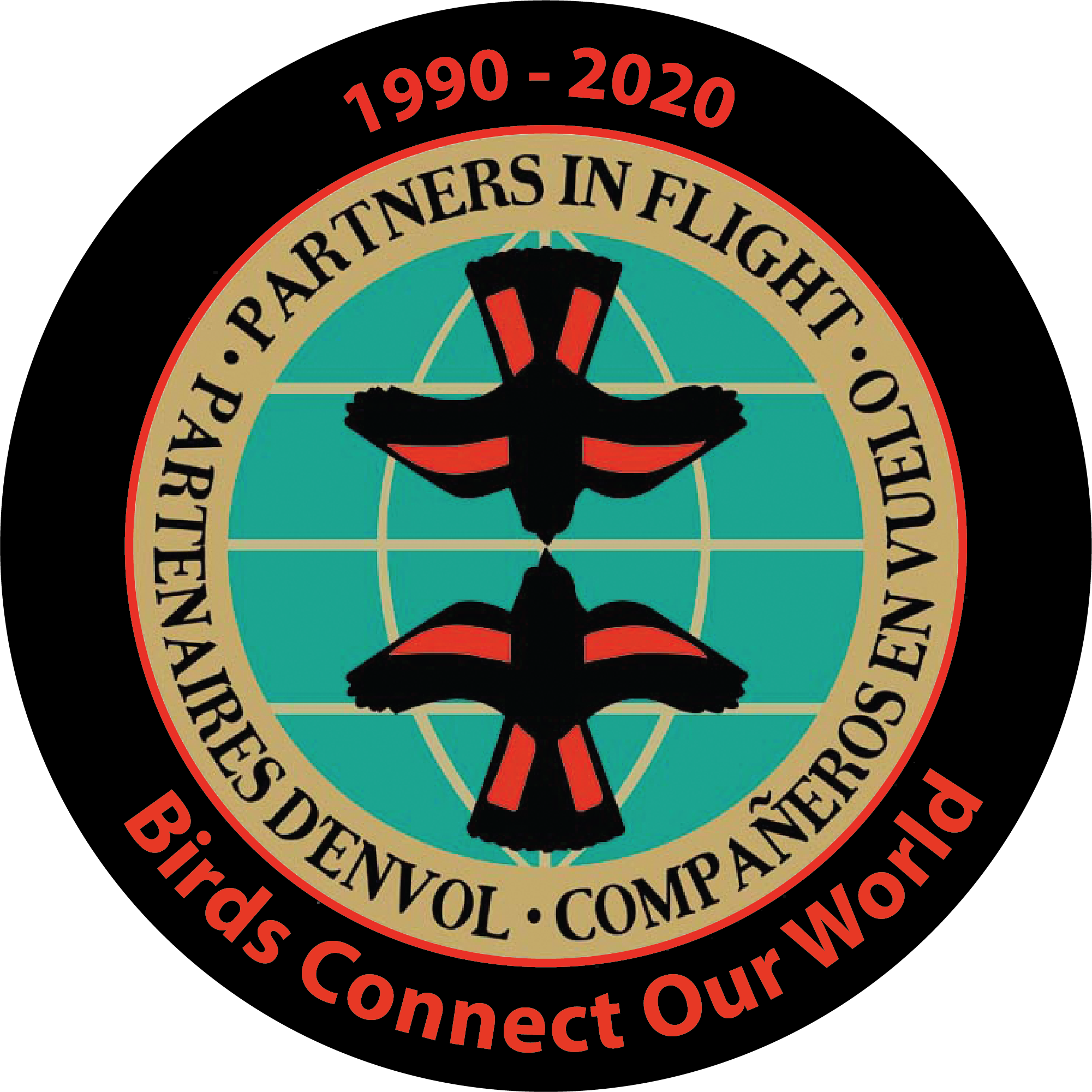"Partner in Flight logo of two American Redstarts superimposed on a globe above the words ""Birds Connect Our World"""