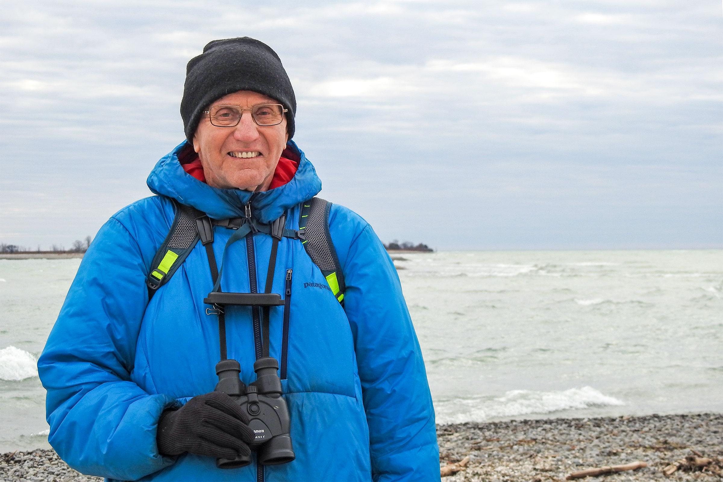 Ron Pittaway birding at Presqu'ile Provincial Park on Lake Ontario. Jean Iron